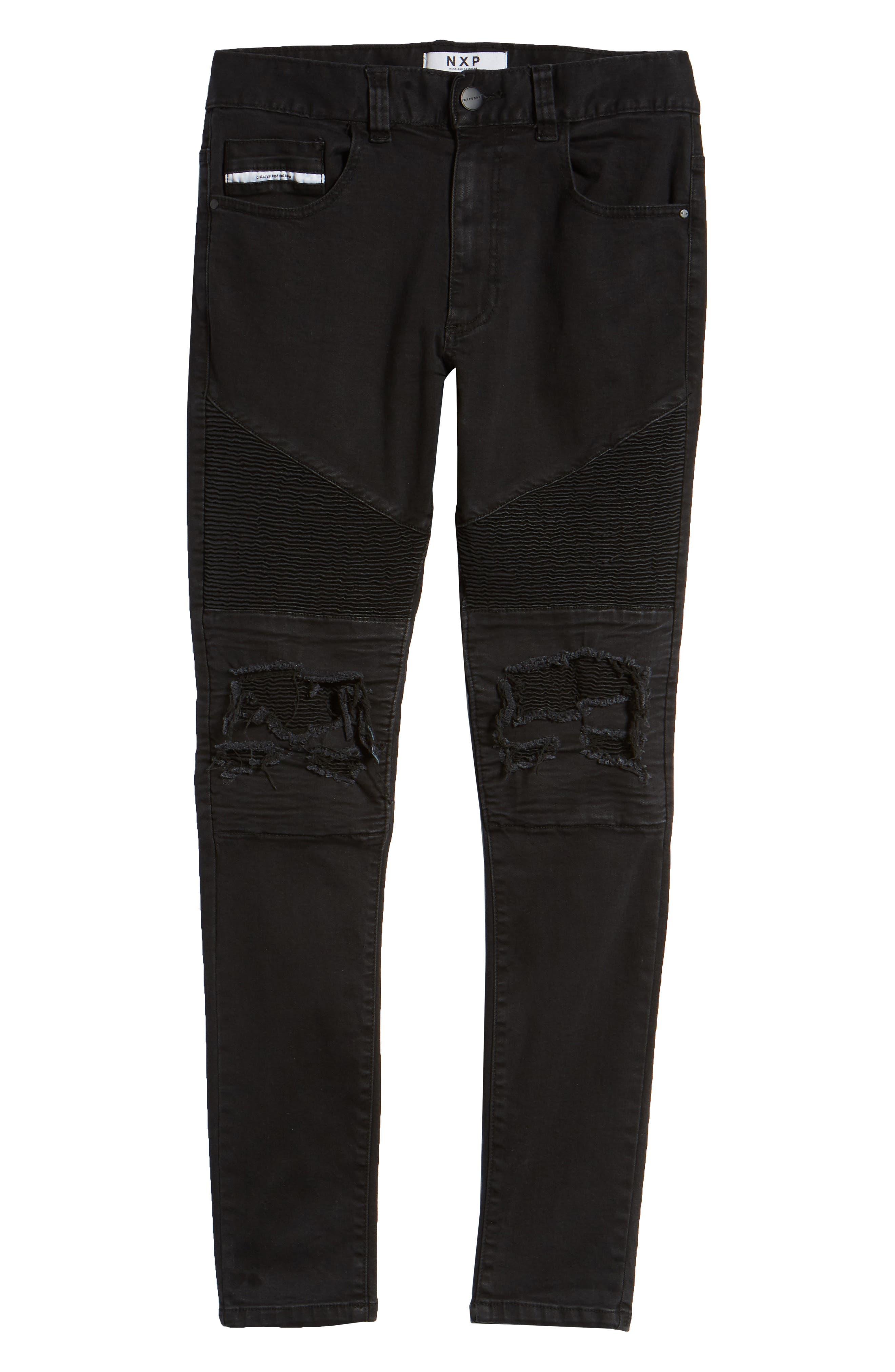 Combination Moto Skinny Moto Jeans,                             Alternate thumbnail 6, color,                             BLACK
