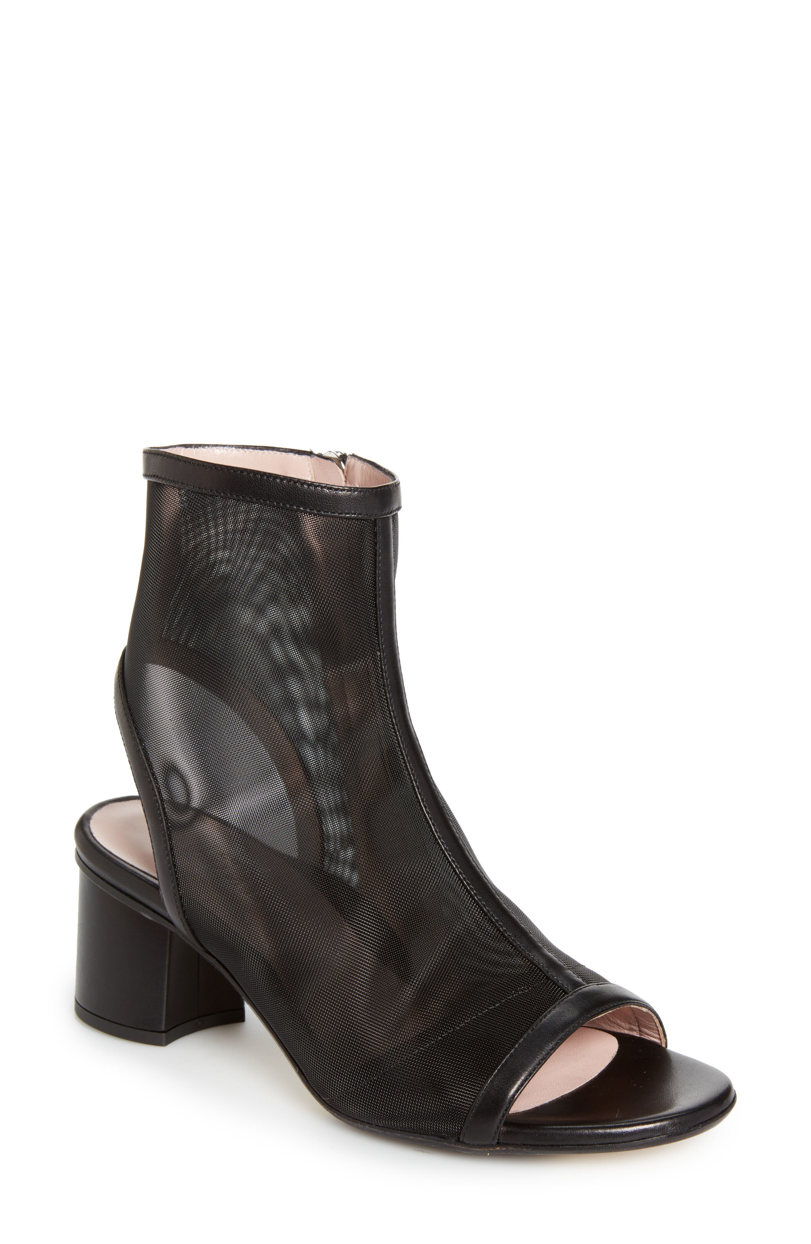 TARYN ROSE COLLECTION,                             Taryn Rose Paige Mesh Peeptoe Bootie,                             Main thumbnail 1, color,                             004