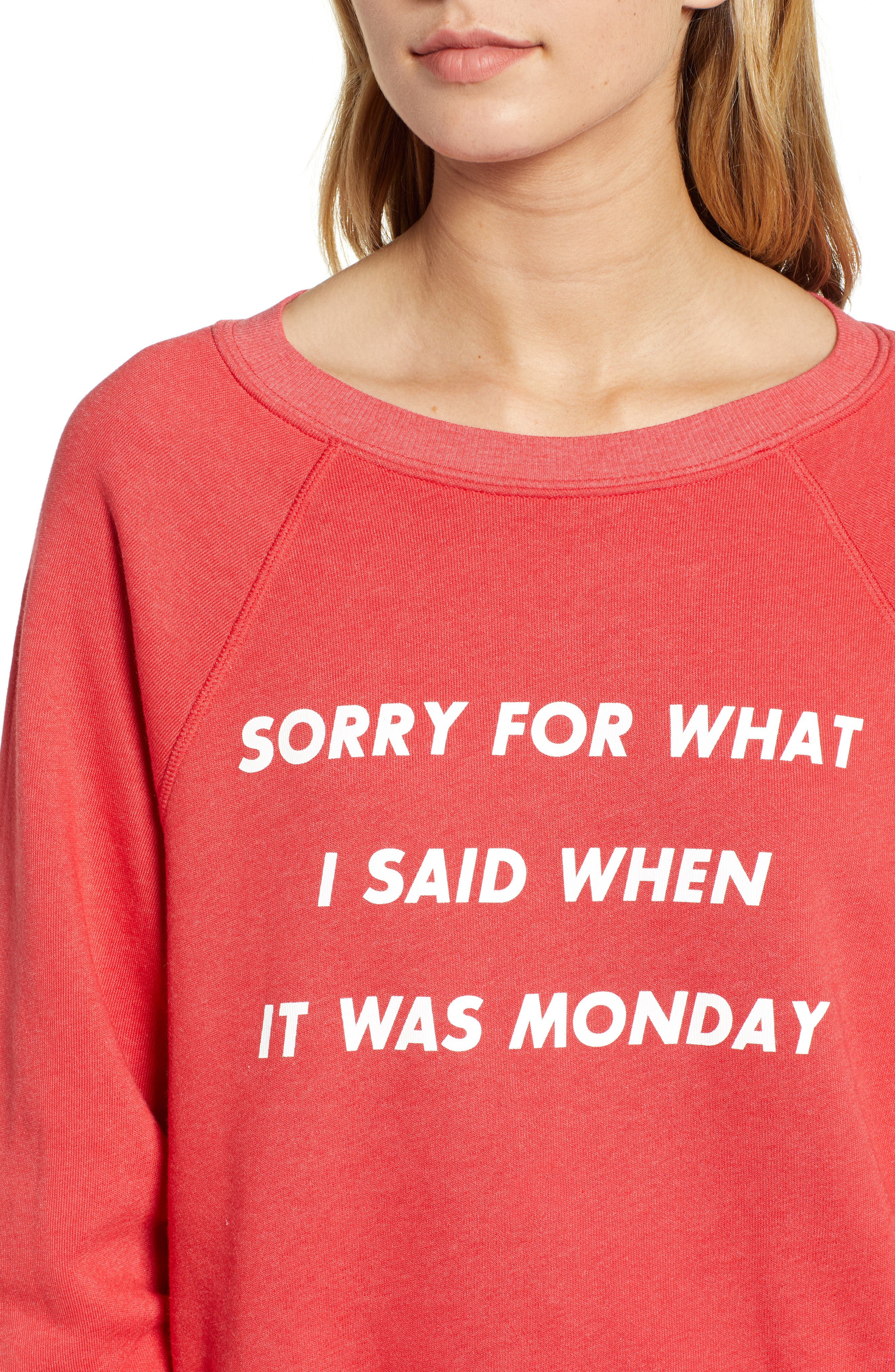 Monday Sommer Sweatshirt,                             Alternate thumbnail 4, color,                             SCARLET