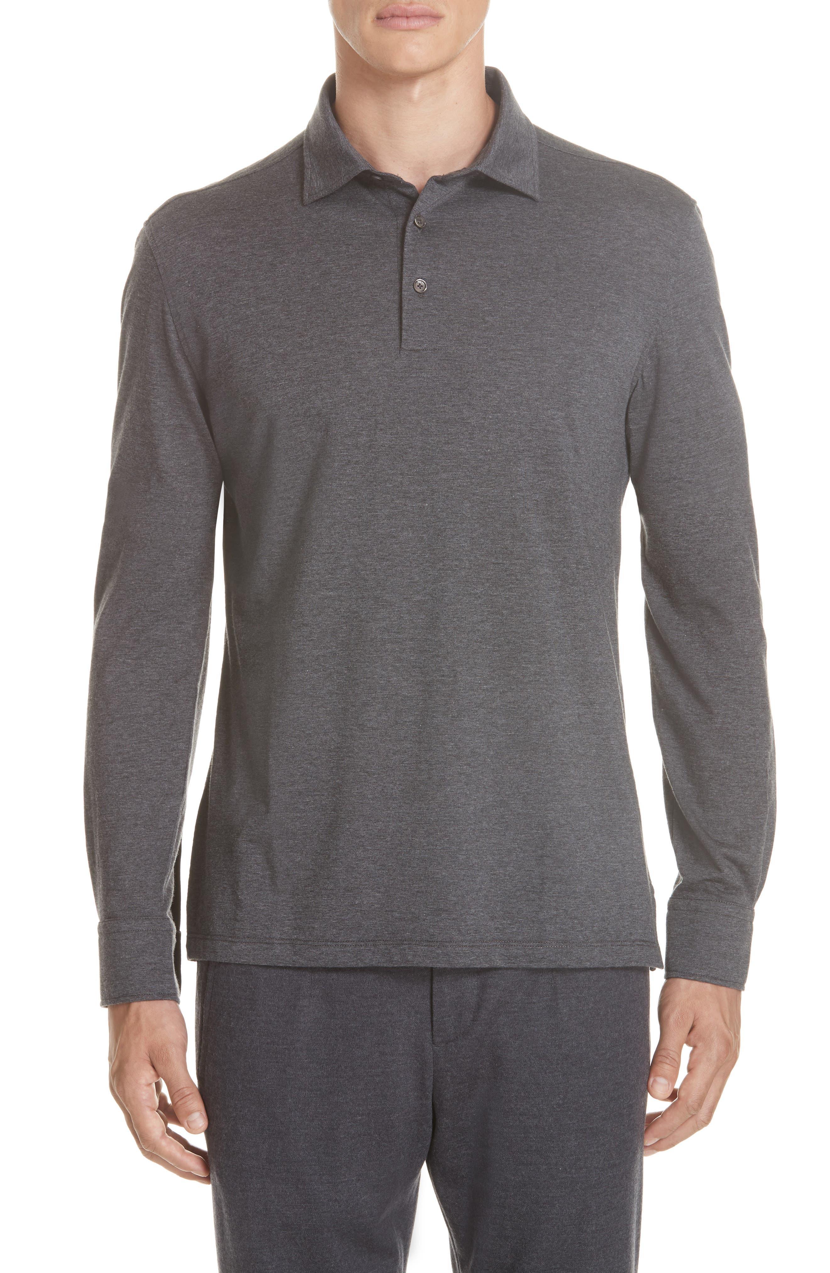 Wool & Cotton Long Sleeve Polo Shirt,                         Main,                         color, CHARCOAL