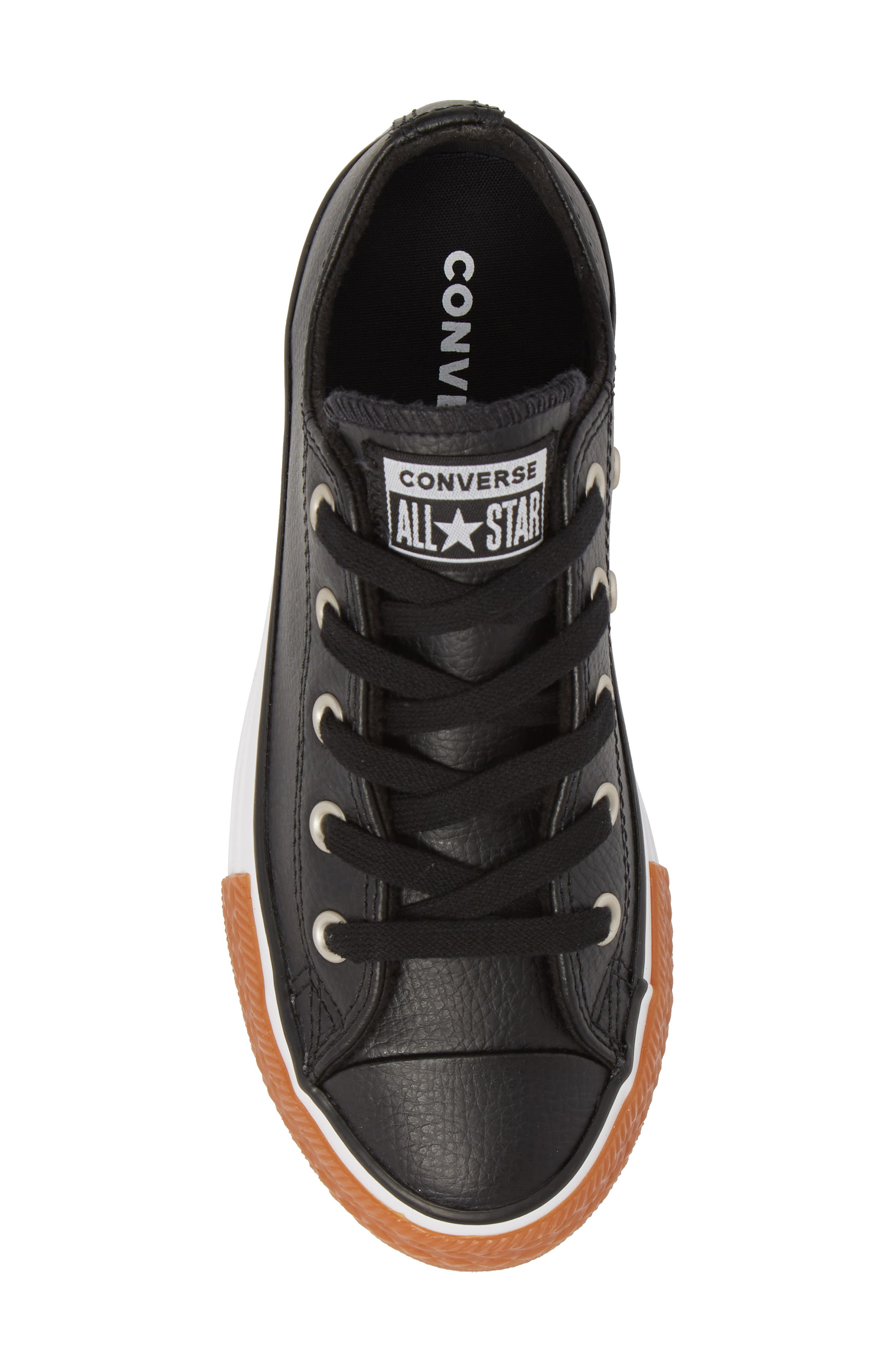 Chuck Taylor<sup>®</sup> All Star<sup>®</sup> Ox Faux Leather Sneaker,                             Alternate thumbnail 5, color,                             BLACK