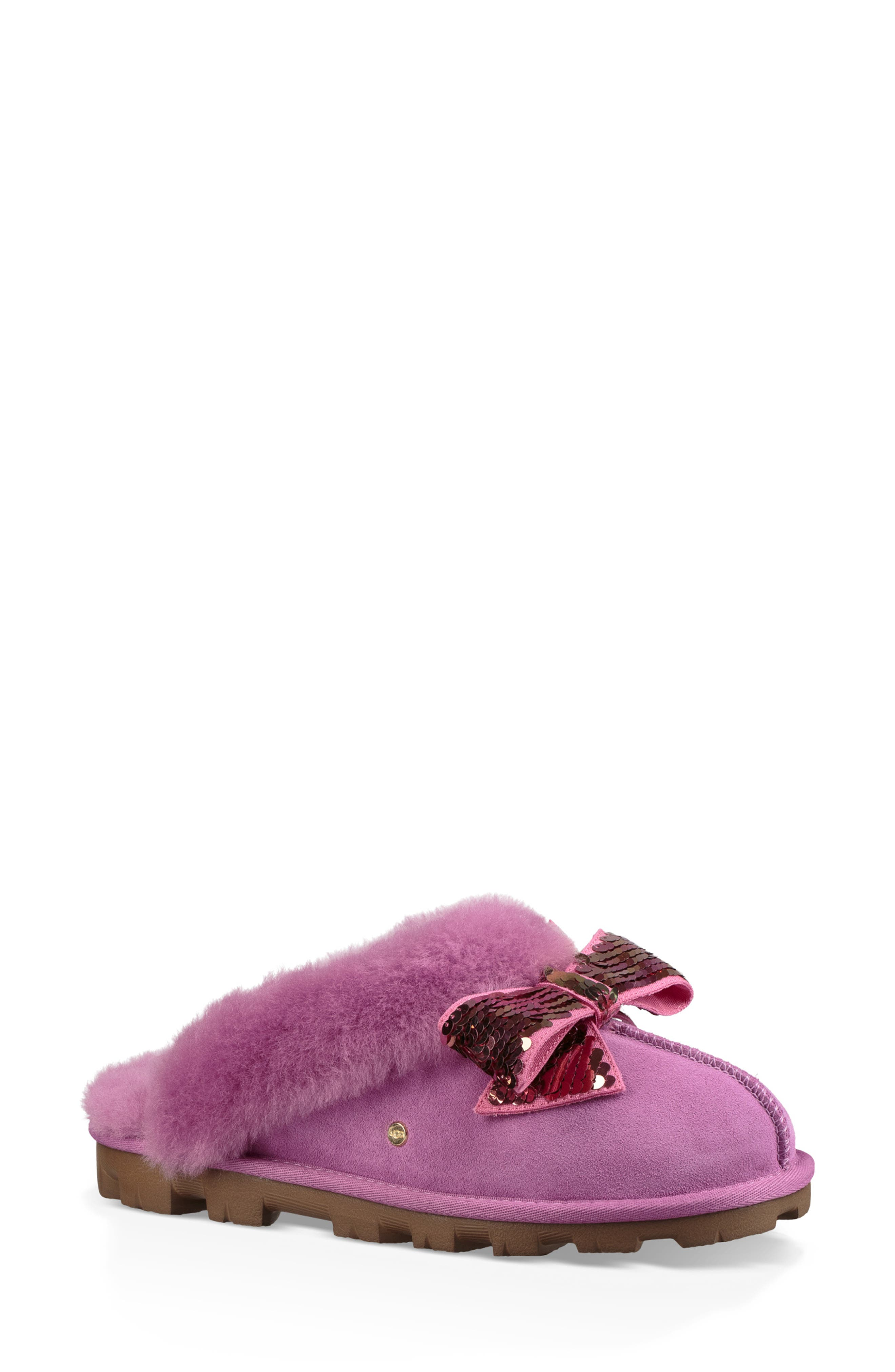 Ugg Genuine Shearling & Sequin Bow Slipper, Purple