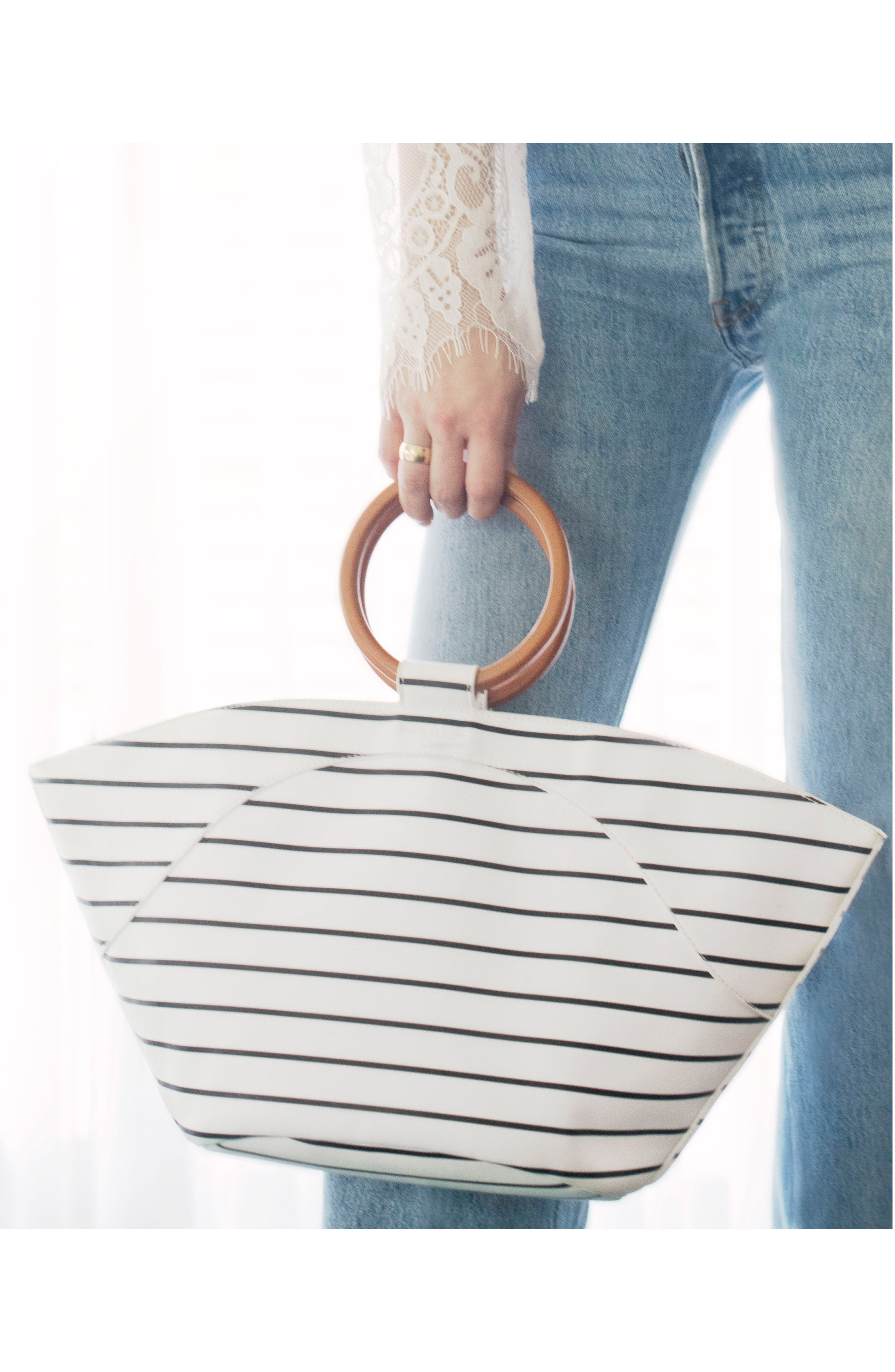 Wooden Ring Stripe Tote,                             Alternate thumbnail 7, color,                             103