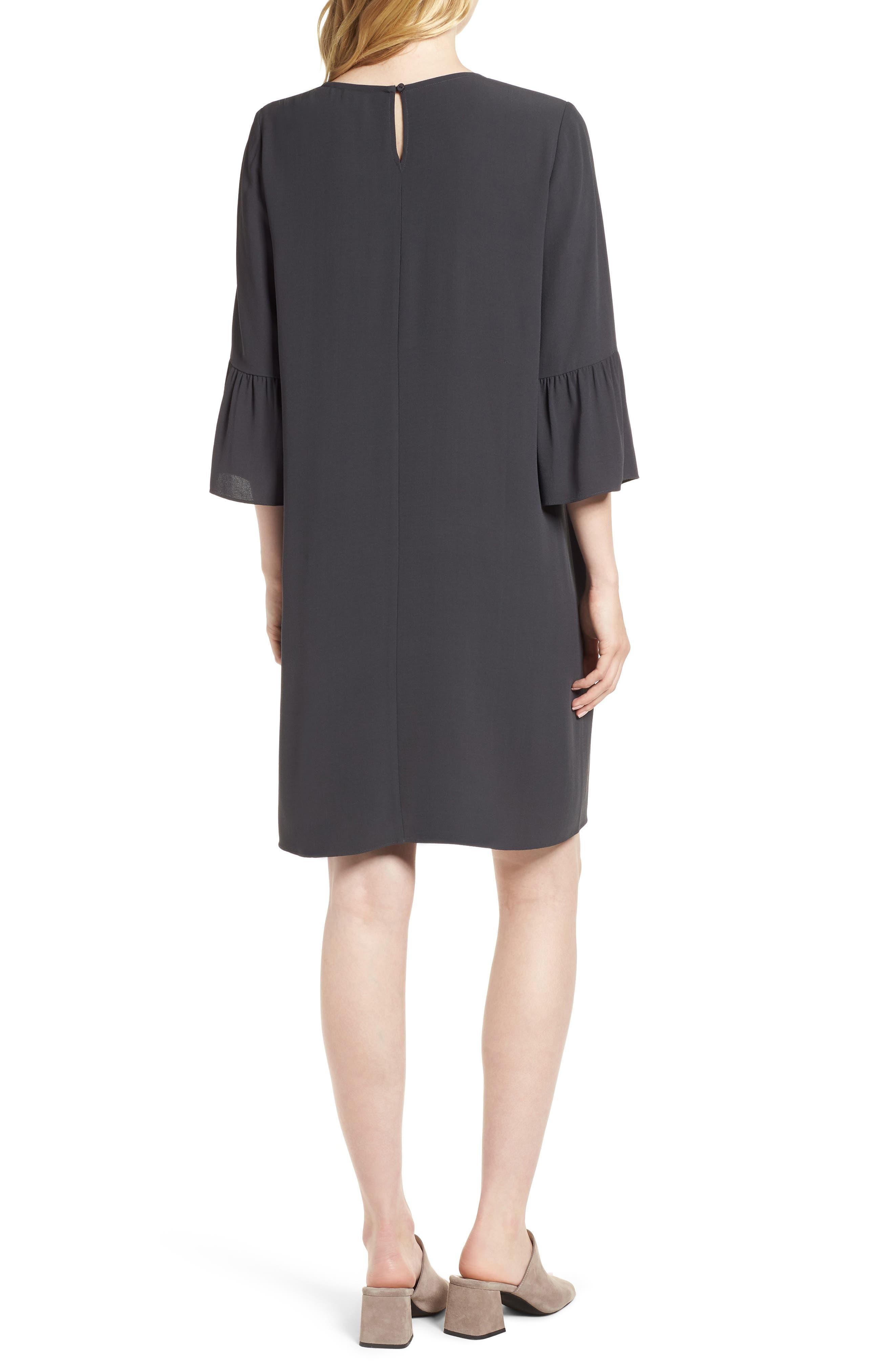 Flare Sleeve Silk Dress,                             Alternate thumbnail 2, color,                             025