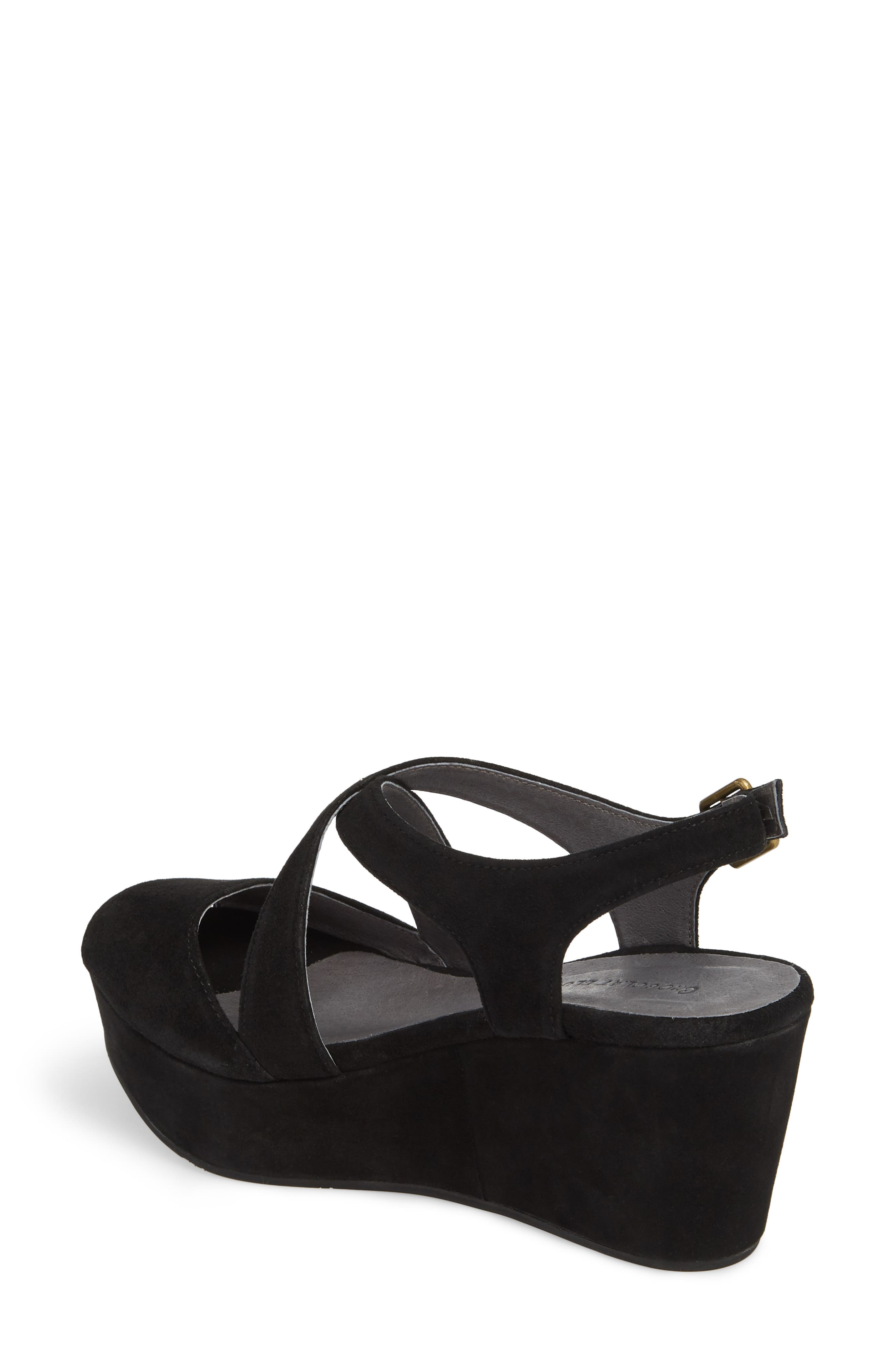 Winnie Wedge Sandal,                             Alternate thumbnail 2, color,                             BLACK SUEDE
