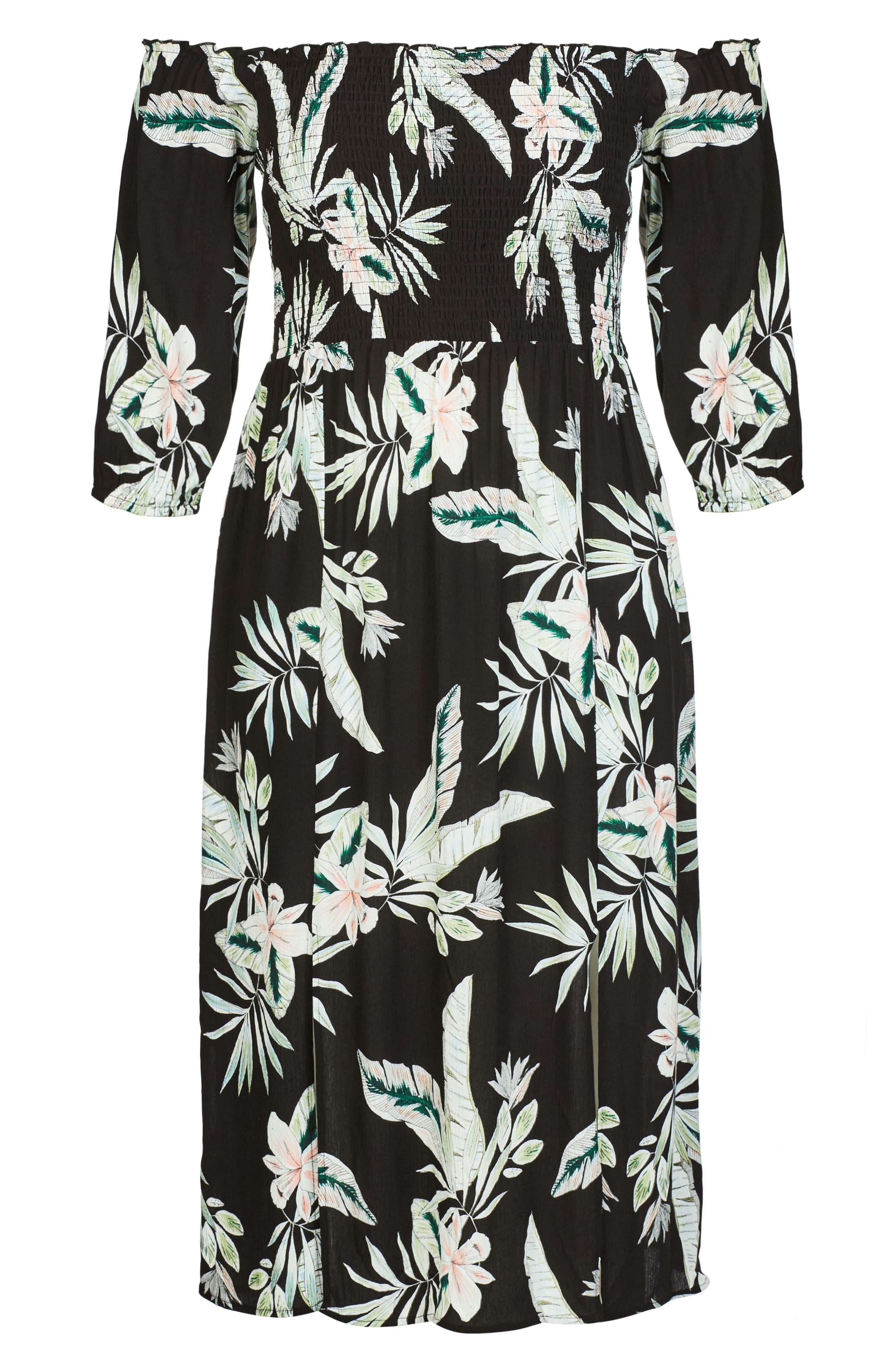 Oahu Off the Shoulder Midi Dress,                             Alternate thumbnail 3, color,                             OAHU ORCHID