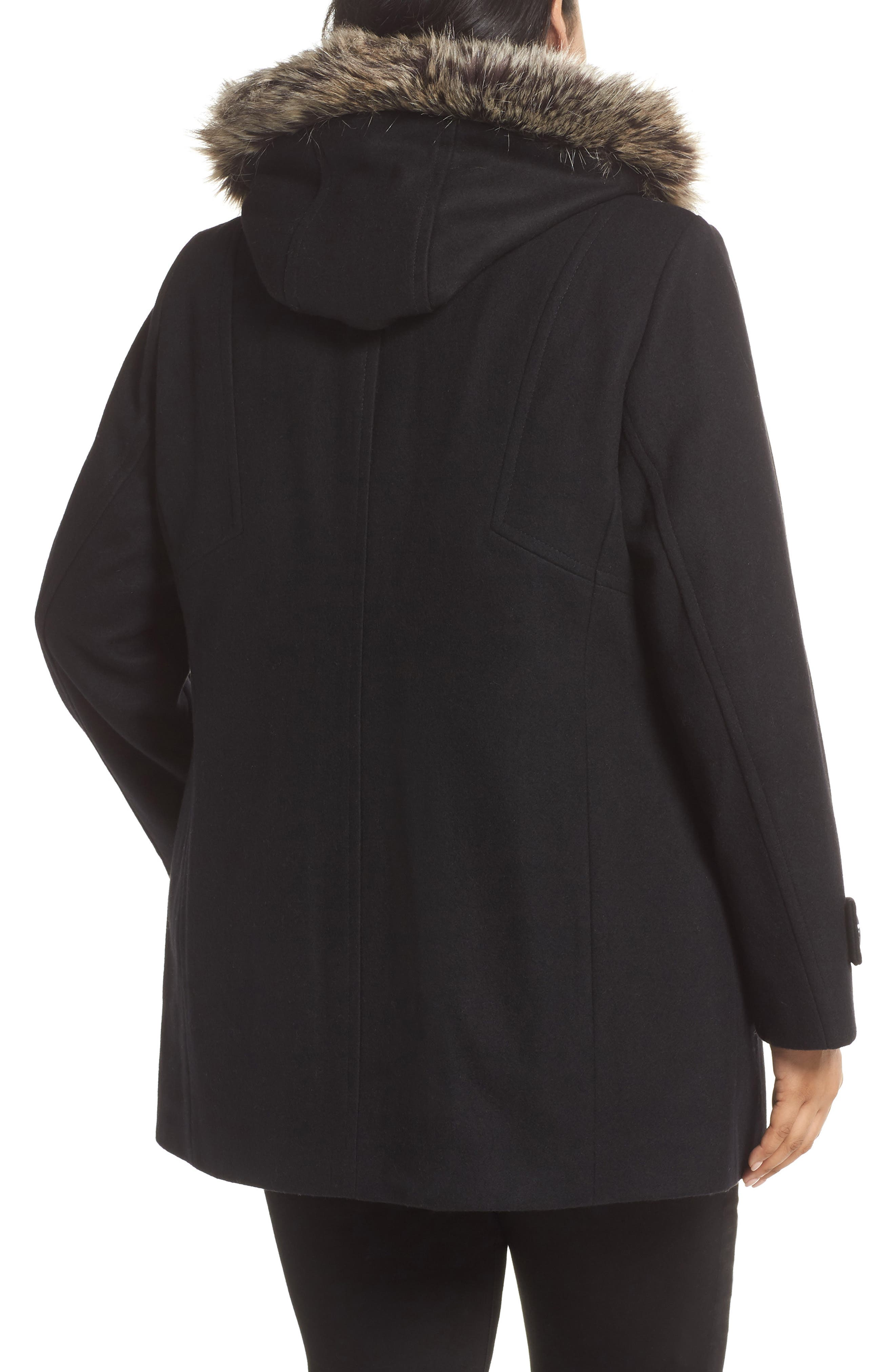 Hooded Wool Blend Coat with Faux Fur Trim,                             Alternate thumbnail 2, color,                             BLACK