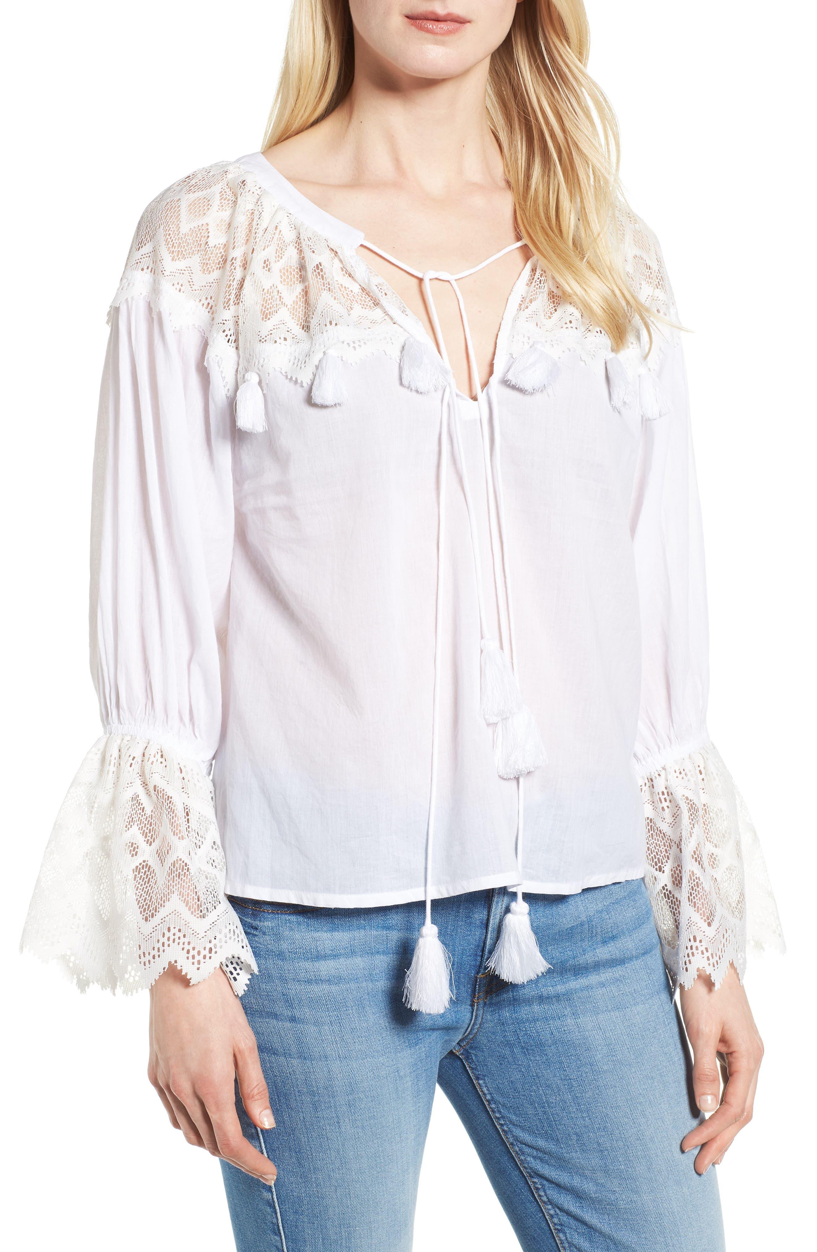 Berkley White Lace Cotton Blend Top,                         Main,                         color, WHITE