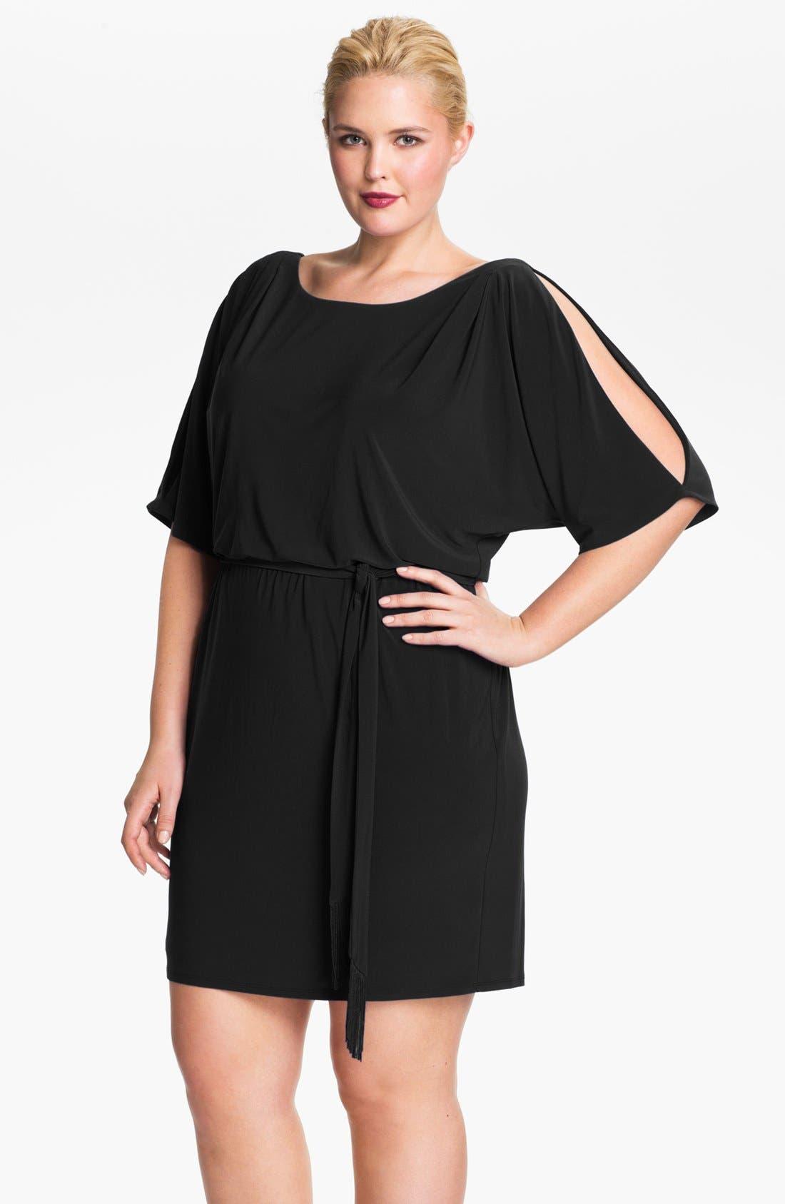 Cold Shoulder Matte Jersey Blouson Dress,                             Main thumbnail 1, color,                             001