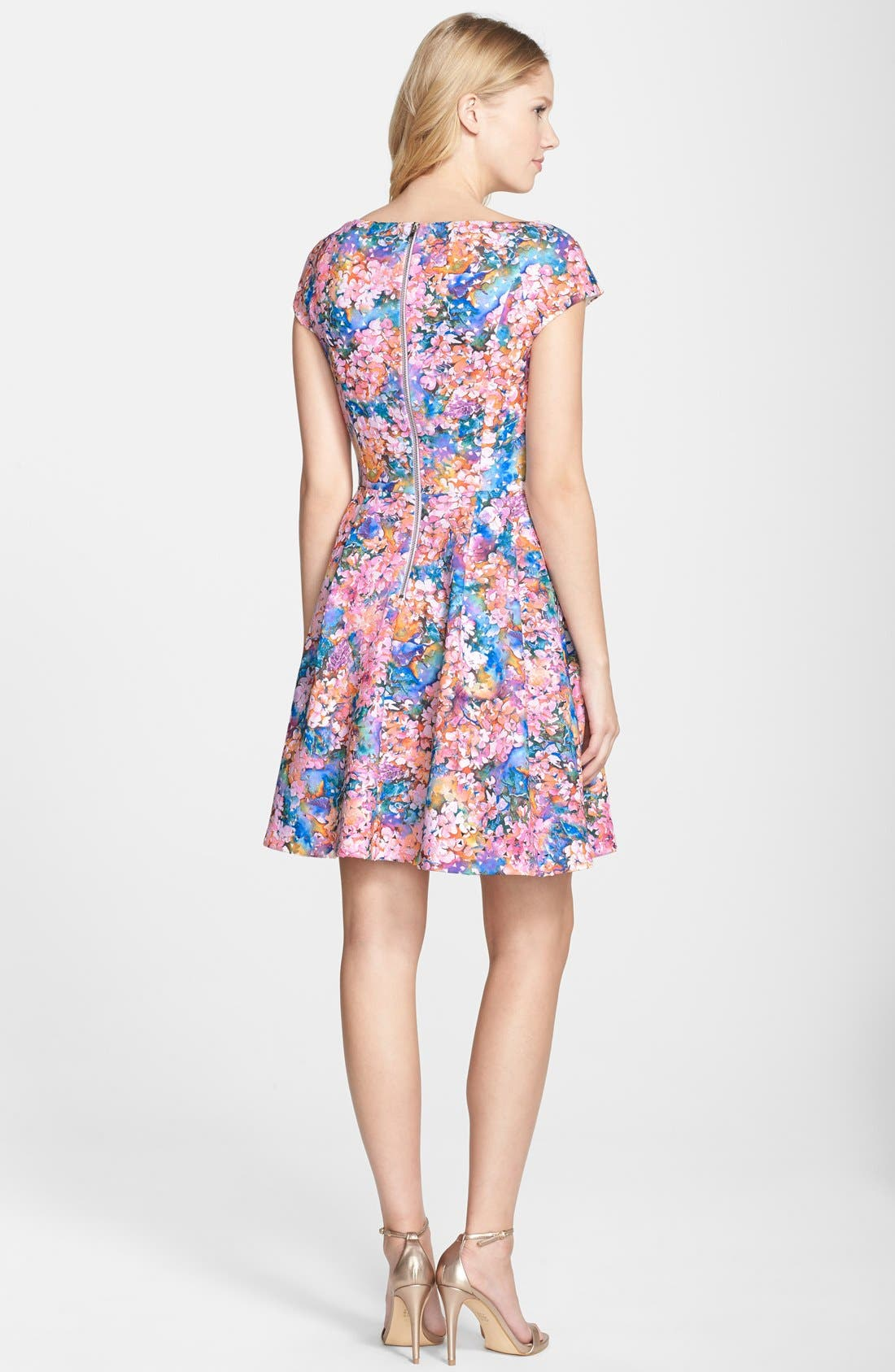 BETSEY JOHNSON,                             Laser Cut Floral Print Scuba Fit & Flare Dress,                             Alternate thumbnail 4, color,                             650