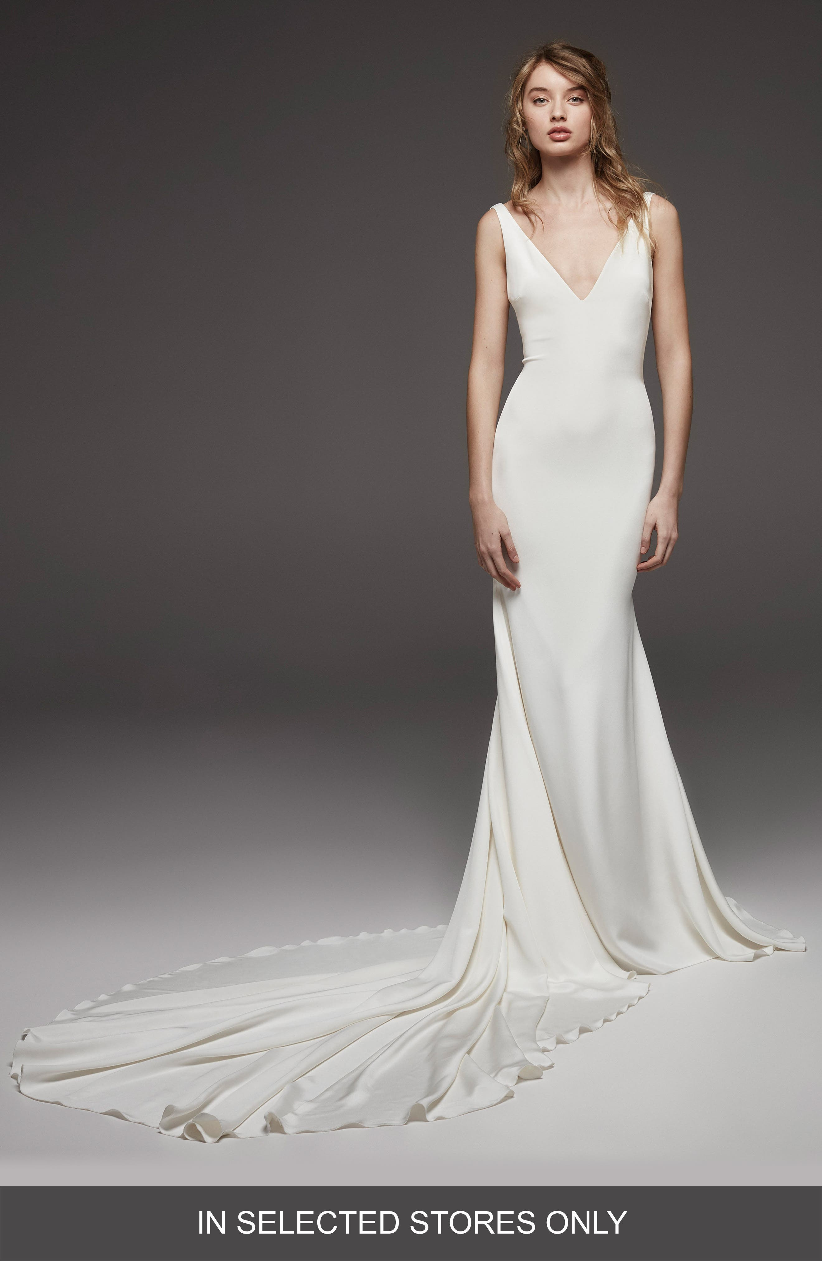 Hispalis Crepe Cowl Back Gown,                         Main,                         color, OFF WHITE