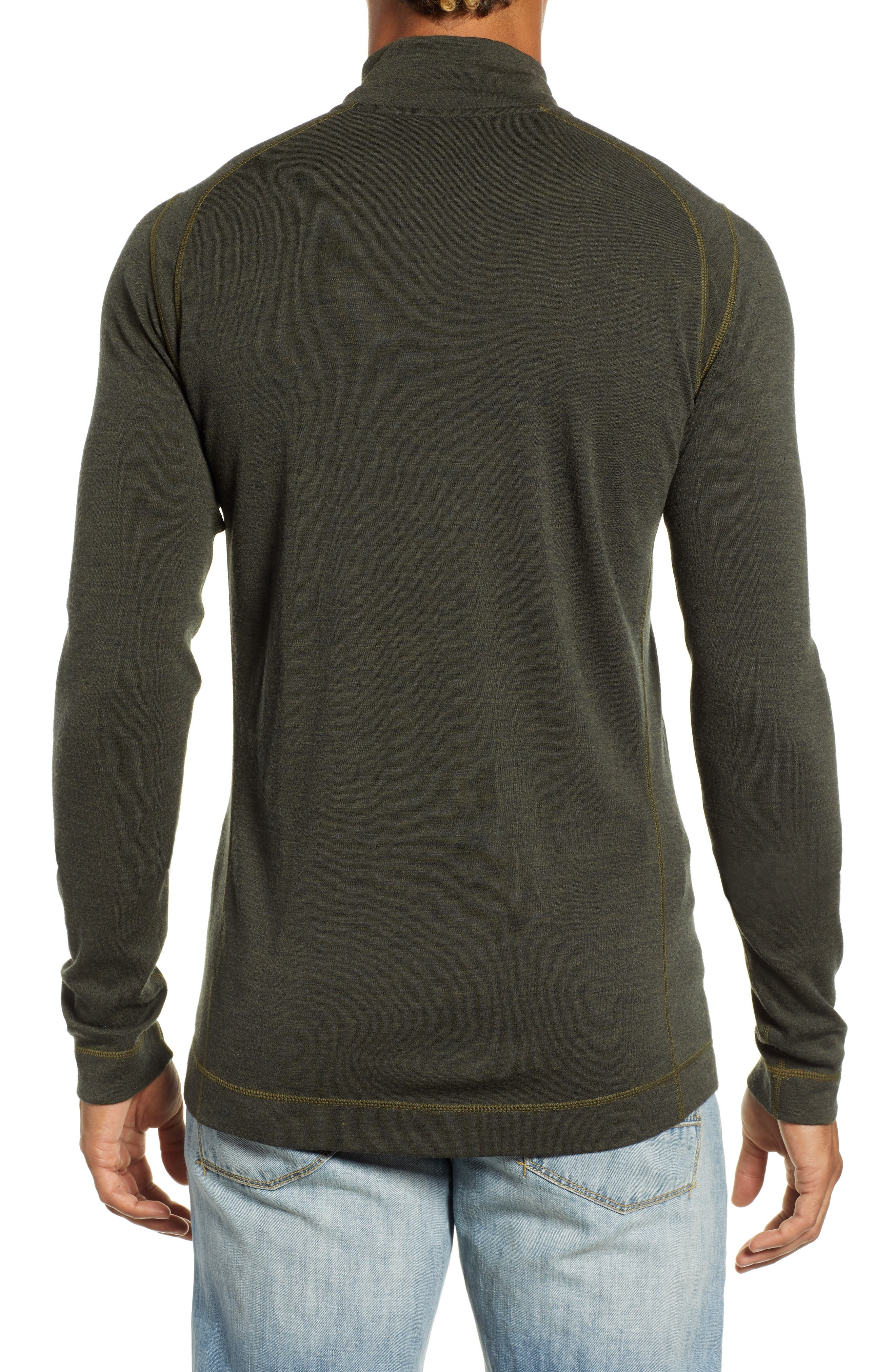 Merino 250 Base Layer Quarter Zip Pullover,                             Alternate thumbnail 2, color,                             OLIVE HEATHER