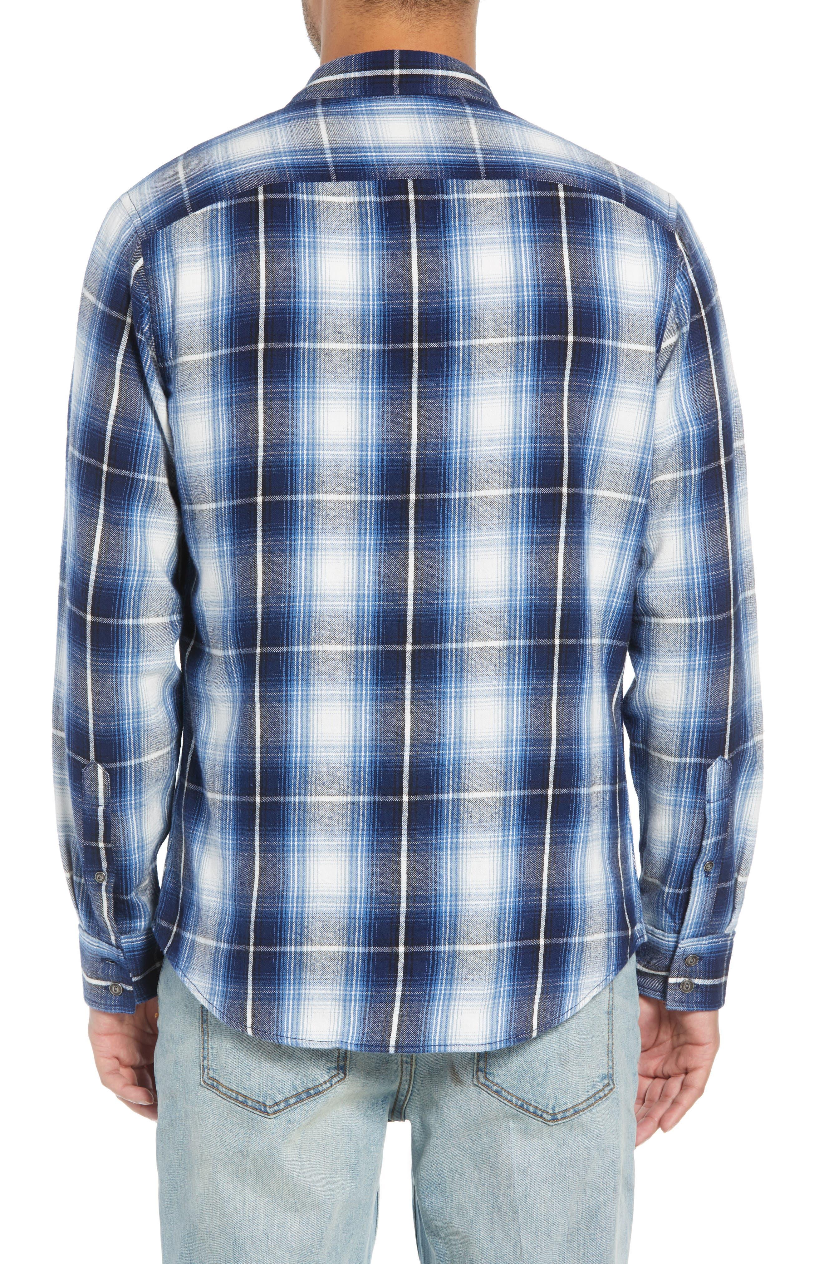 Slim Fit Plaid Flap Pocket Sport Shirt,                             Alternate thumbnail 2, color,                             BLUE CASPIA RIVER PLAID