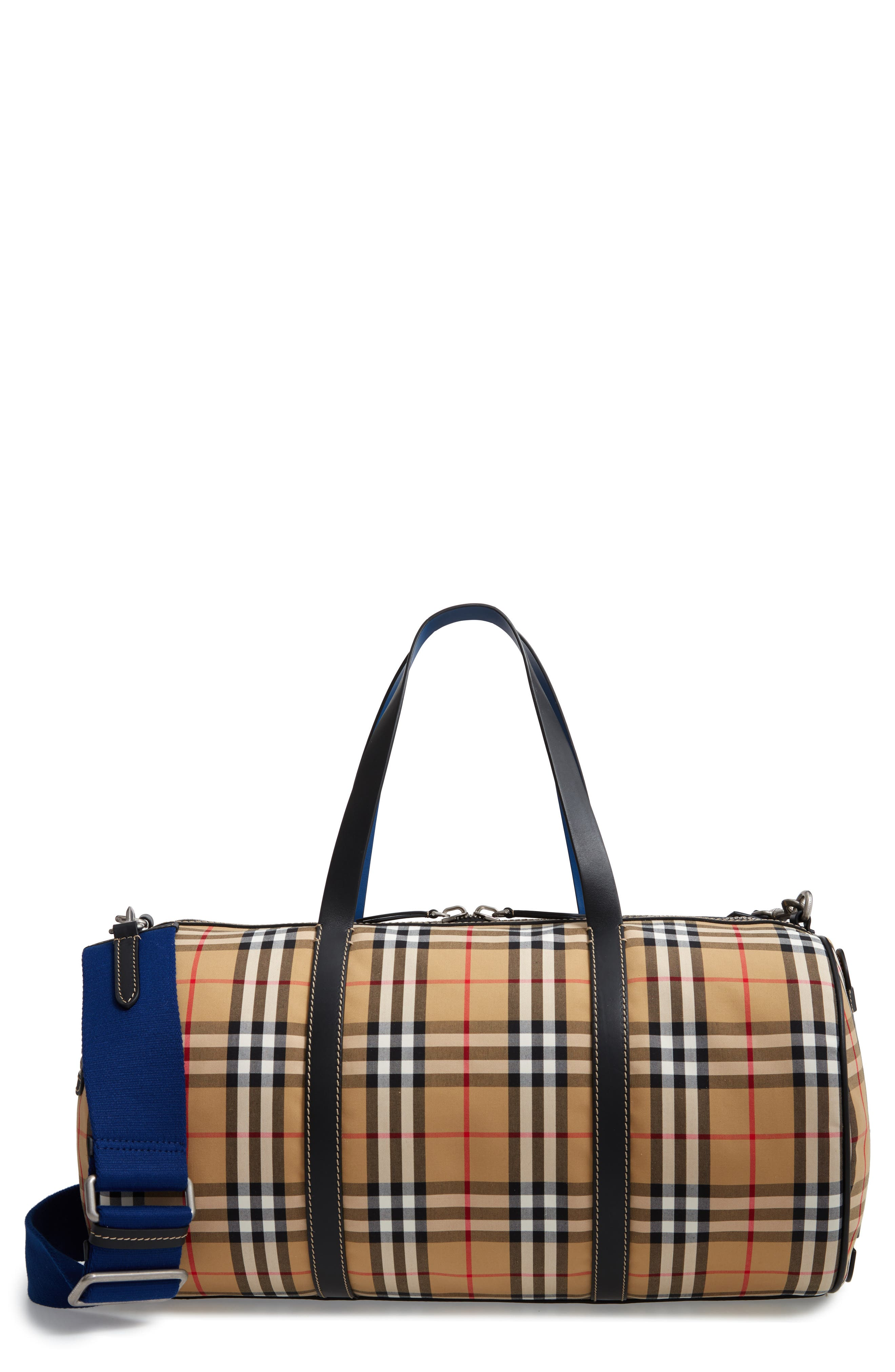 Medium Kennedy Vintage Check Duffel Bag,                             Main thumbnail 1, color,                             CANVAS BLUE