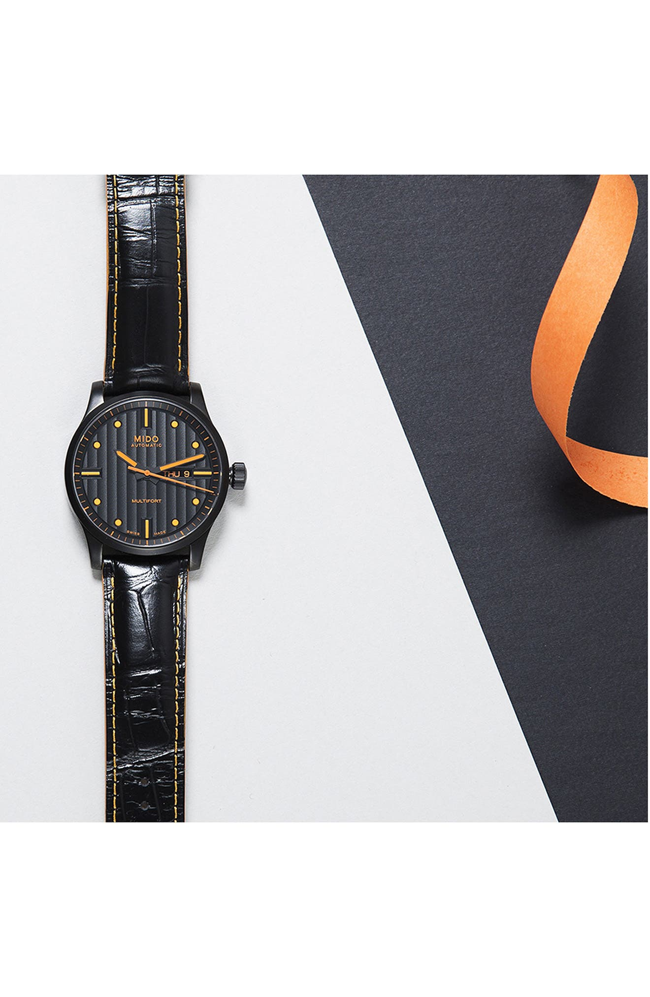 Multifort Automatic Leather Strap Watch, 42mm,                             Alternate thumbnail 2, color,                             BLACK/ ORANGE