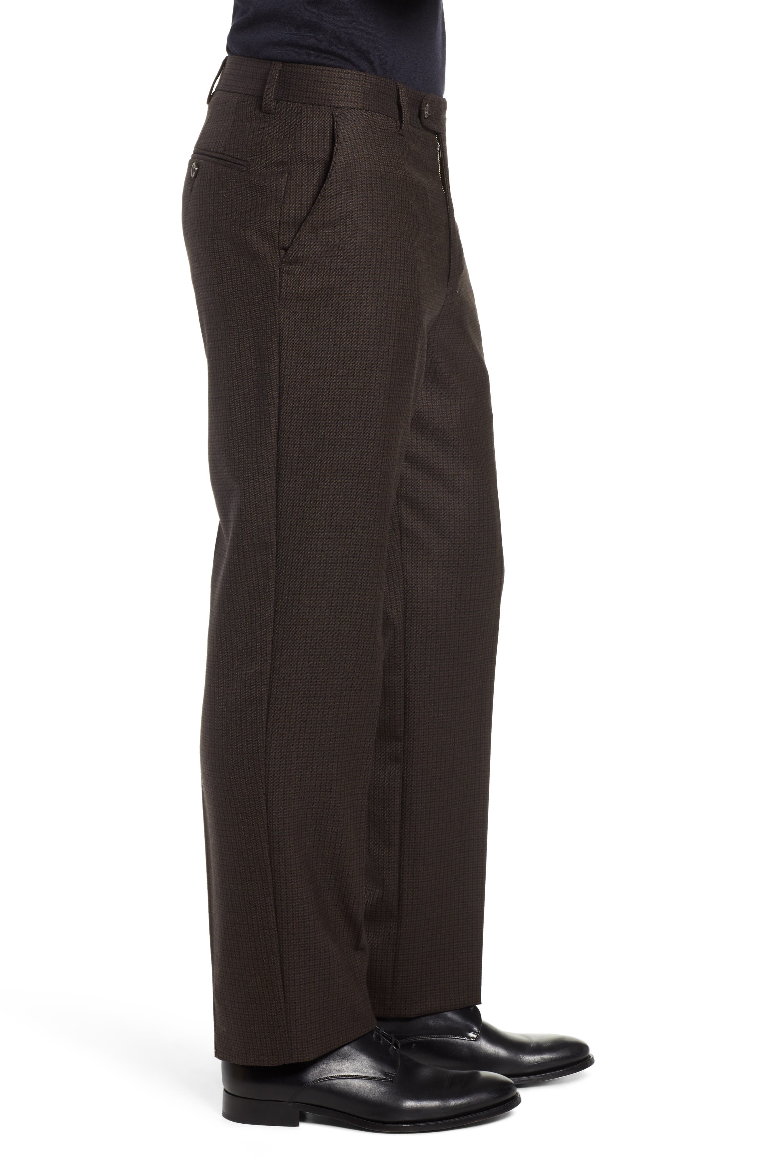 Manufacturing Flat Front Check Wool Trousers,                             Alternate thumbnail 3, color,                             BLACK