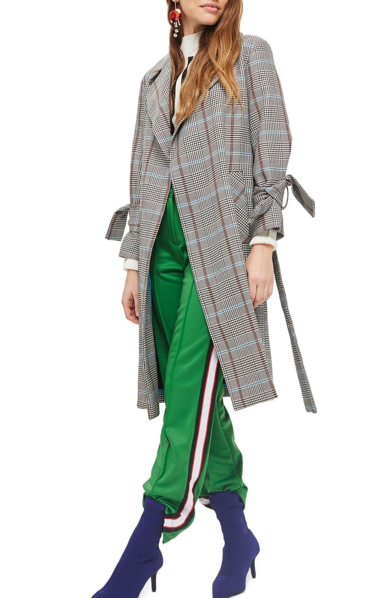 TOPSHOP,                             Check Belted Coat,                             Main thumbnail 1, color,                             001