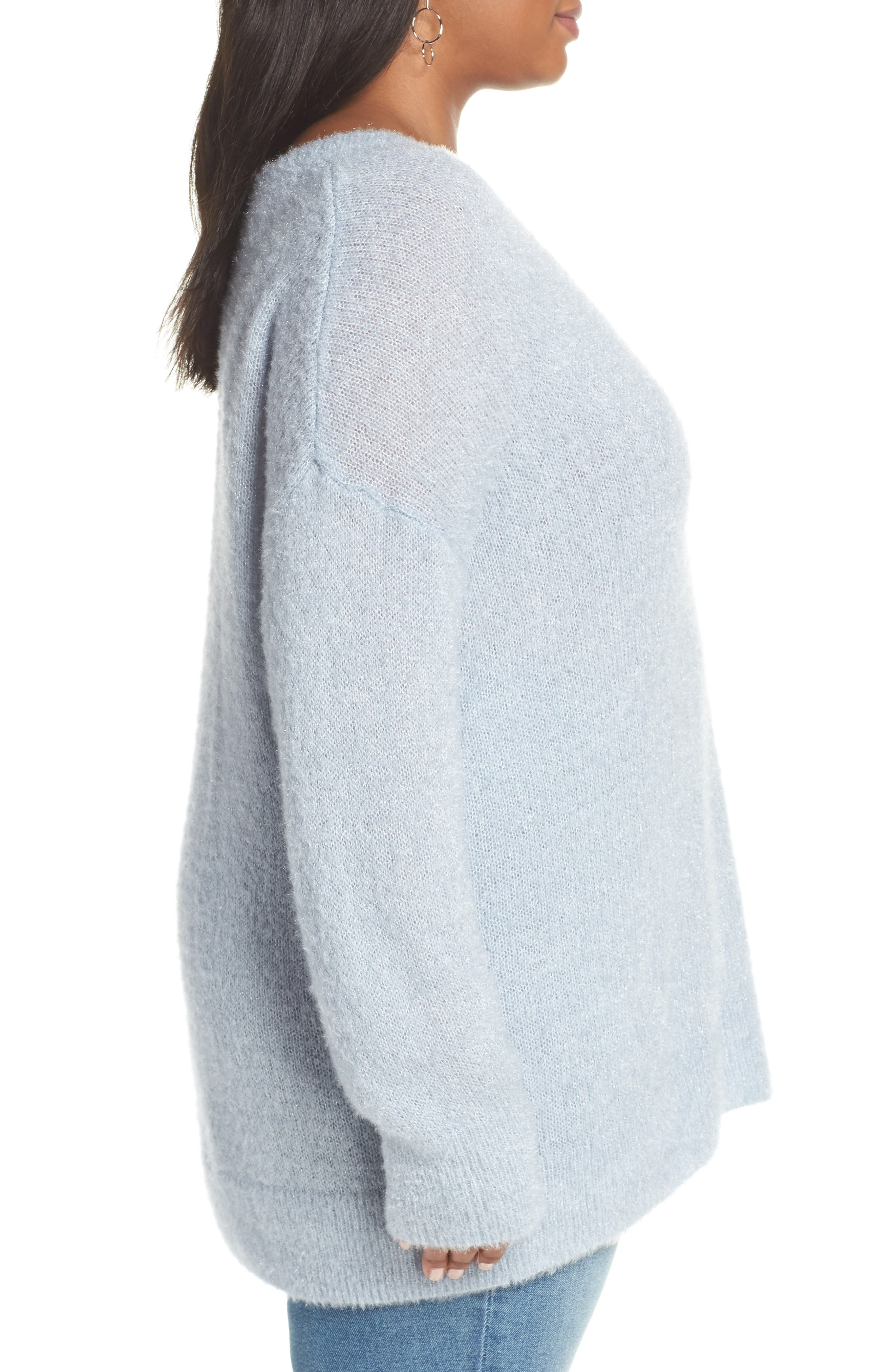 Fuzzy V-Neck Sweater,                             Alternate thumbnail 3, color,                             BLUE FOG