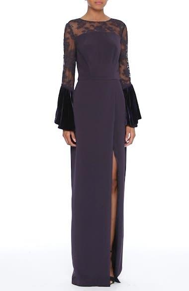 Lace & Velvet Trim Crepe Gown, video thumbnail