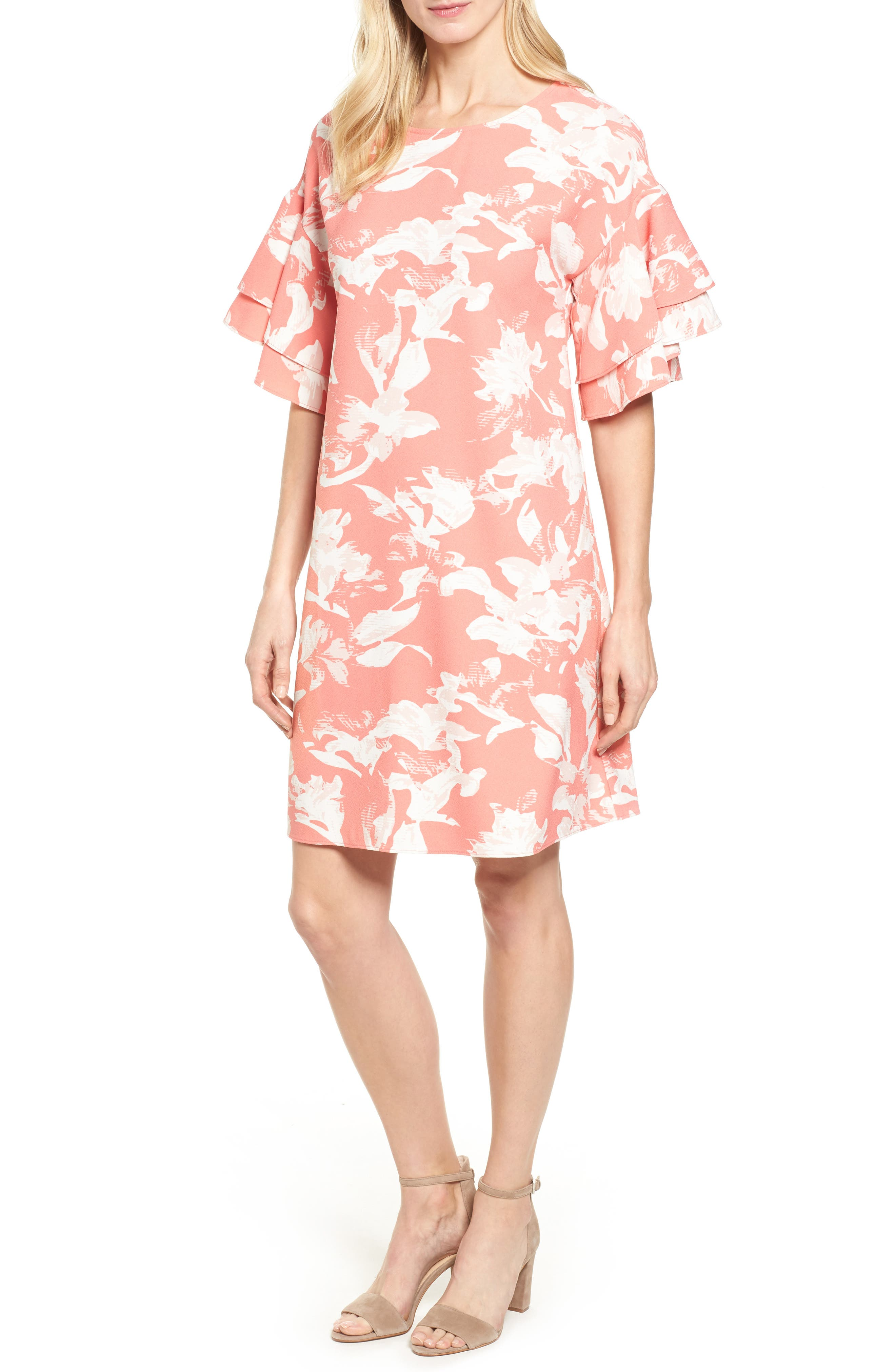 Ruffle Sleeve Shift Dress,                             Main thumbnail 2, color,