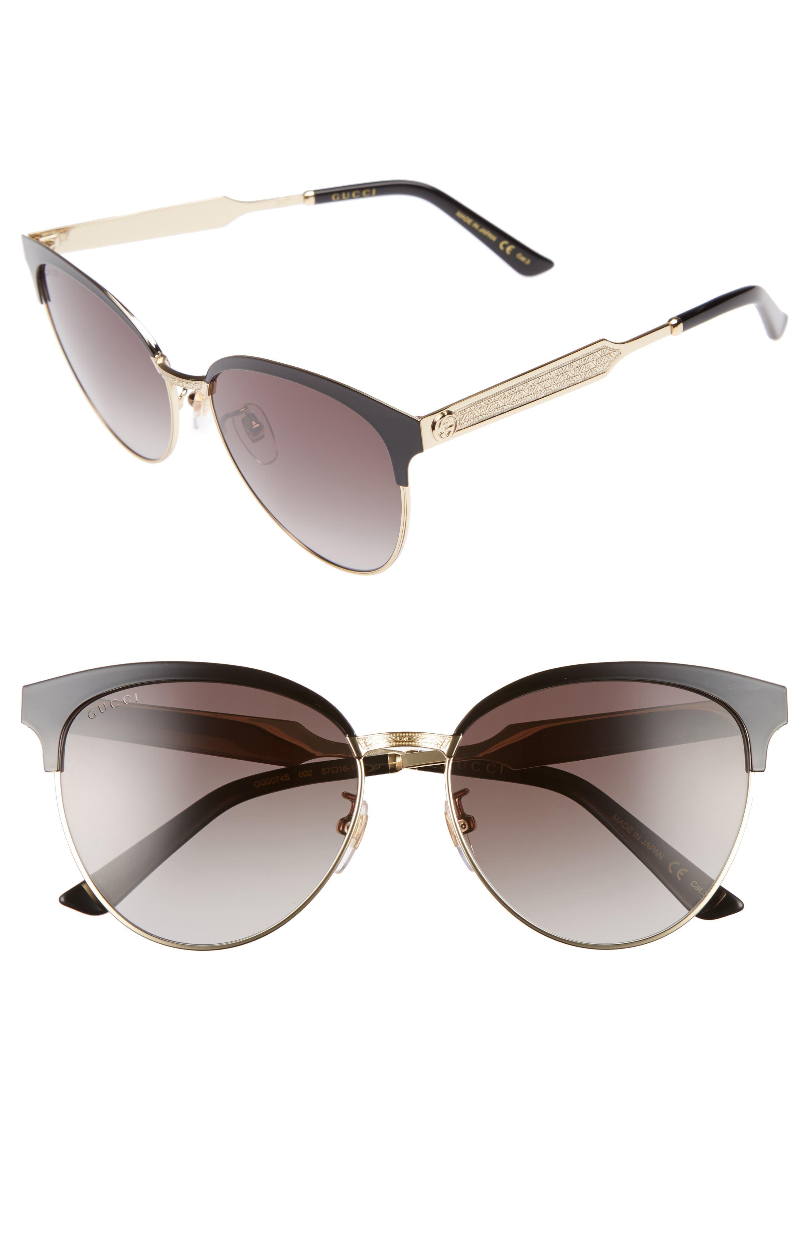 57mm Retro Sunglasses,                         Main,                         color, 001