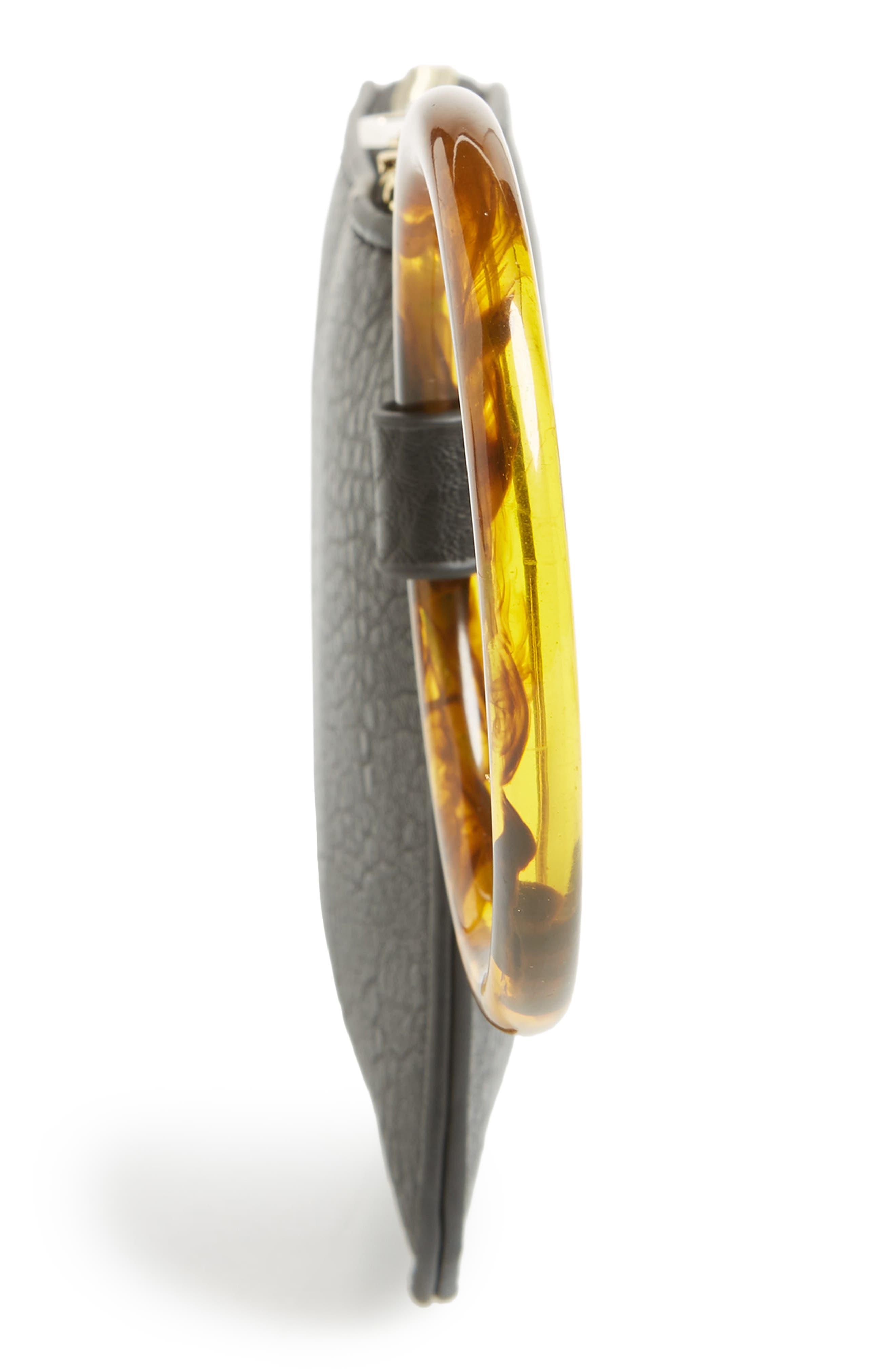 Resin Handle Mini Zip Clutch,                             Alternate thumbnail 5, color,                             BLACK
