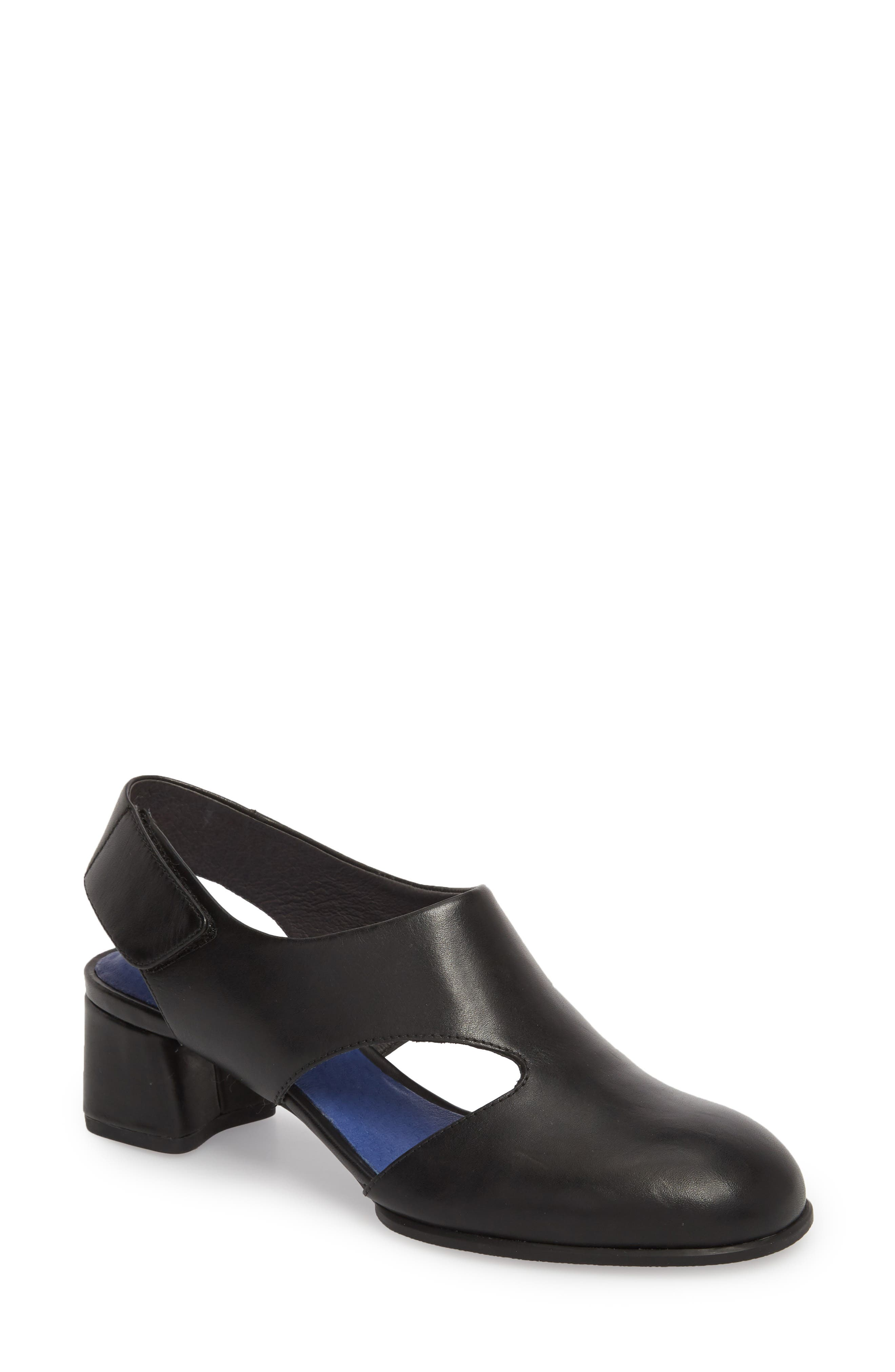 TWS Slingback Pump,                         Main,                         color, BLACK LEATHER