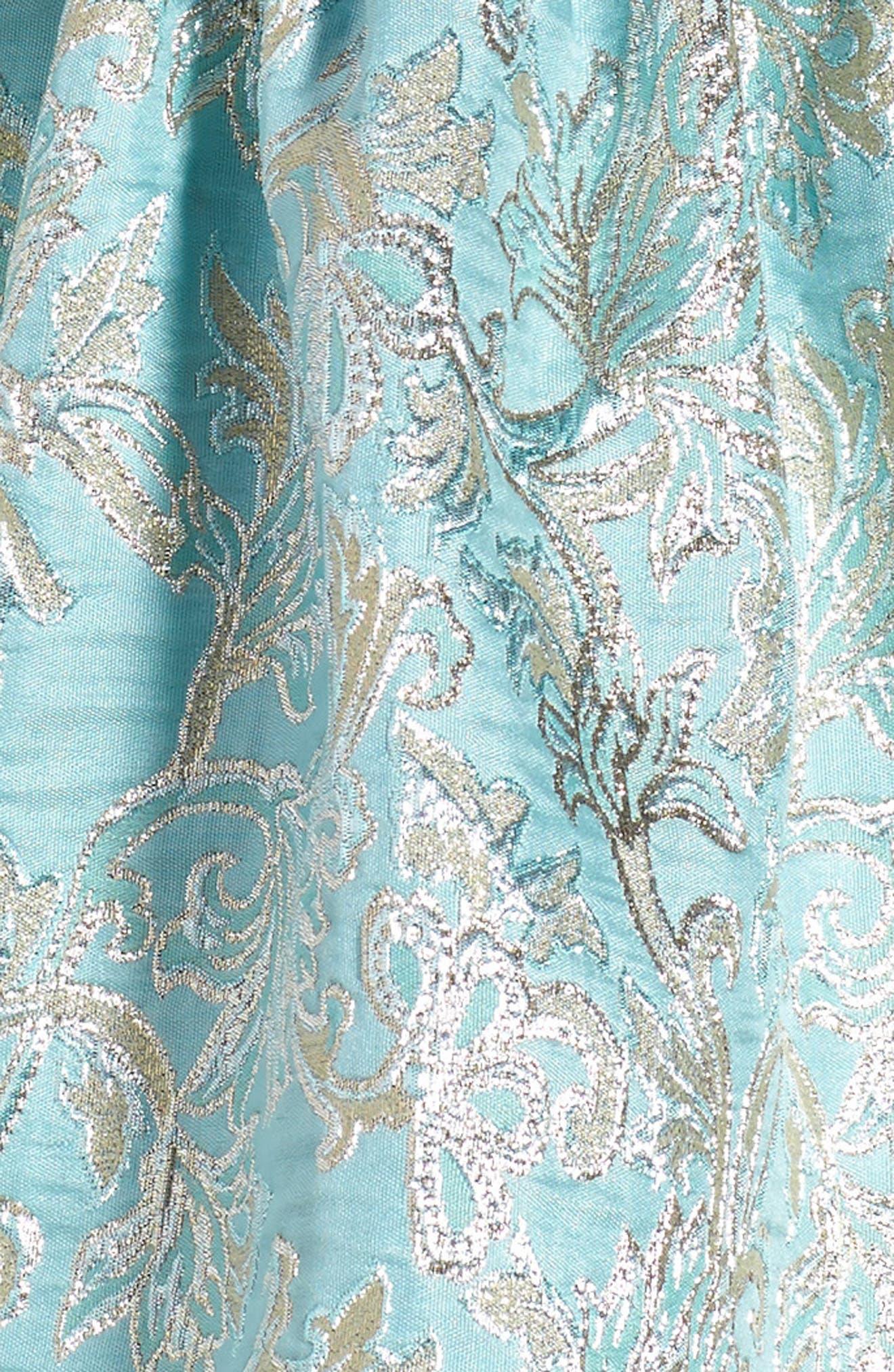 David Chales Ruffle Neck Brocade Dress,                             Alternate thumbnail 4, color,                             440