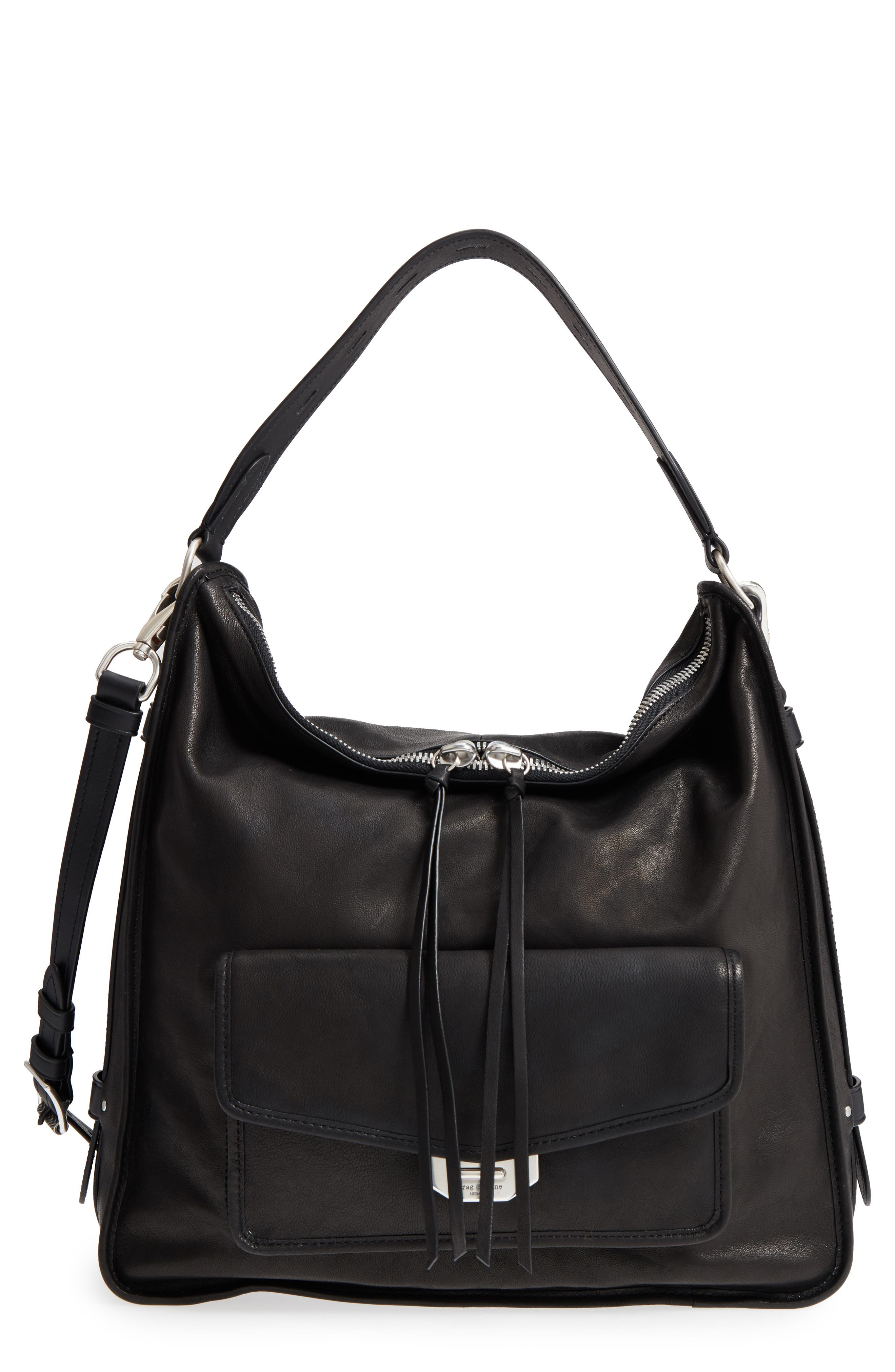 Field Leather Hobo,                         Main,                         color, BLACK