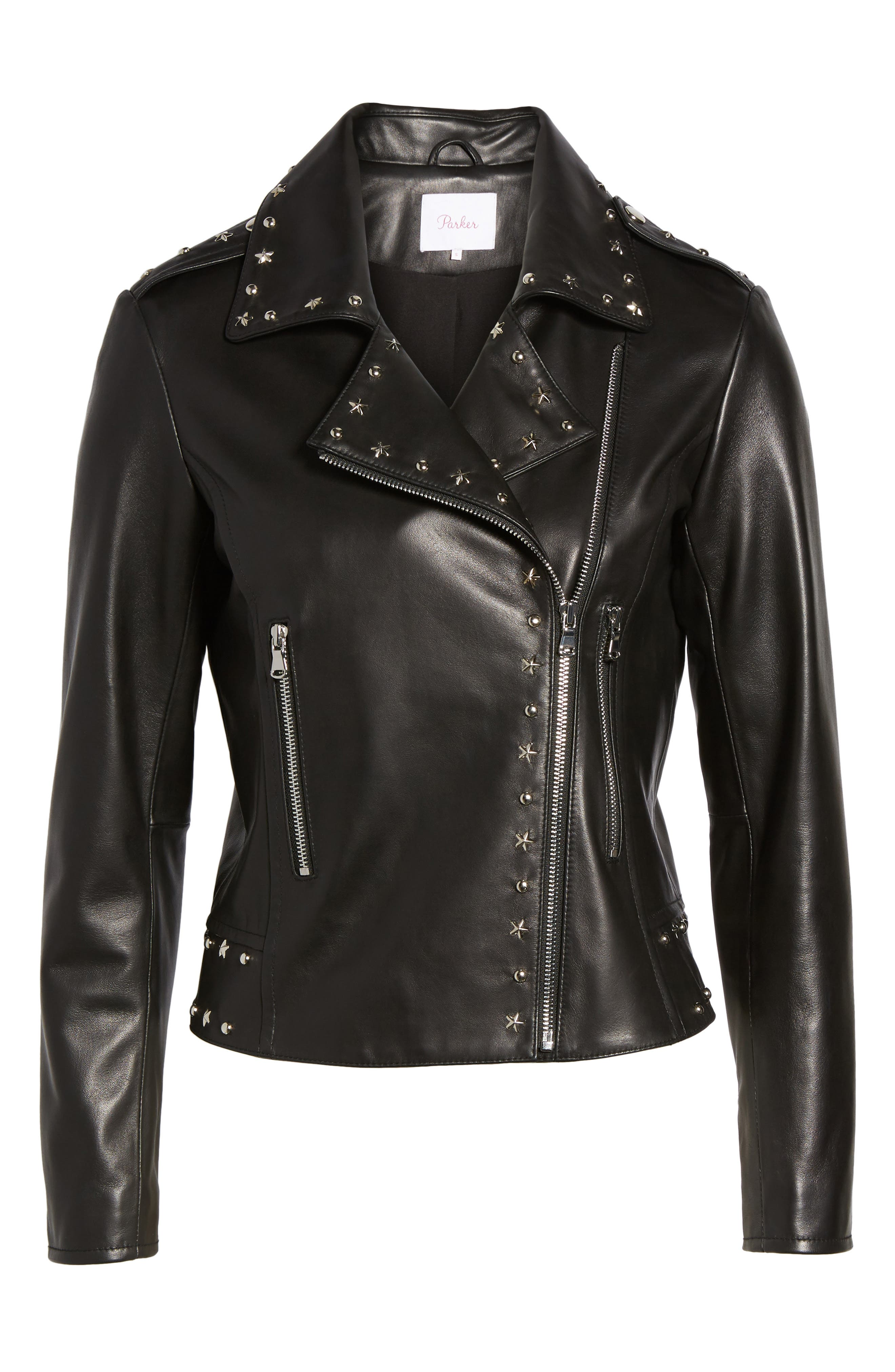 Easton Studded Leather Moto Jacket,                             Alternate thumbnail 5, color,                             BLACK