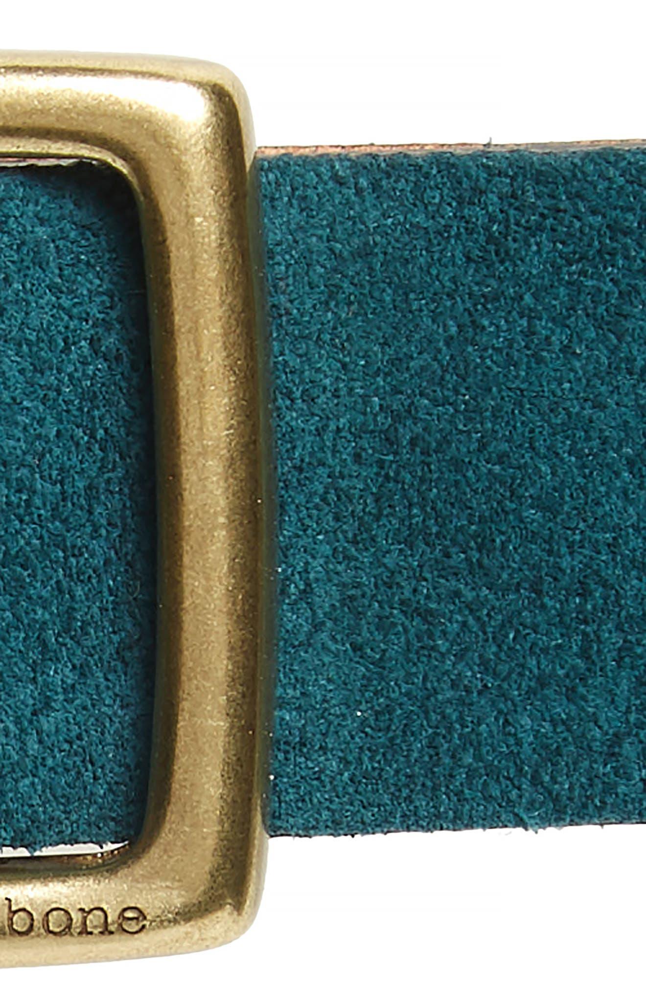 'Boyfriend' Leather Belt,                             Alternate thumbnail 3, color,                             FOREST SUEDE