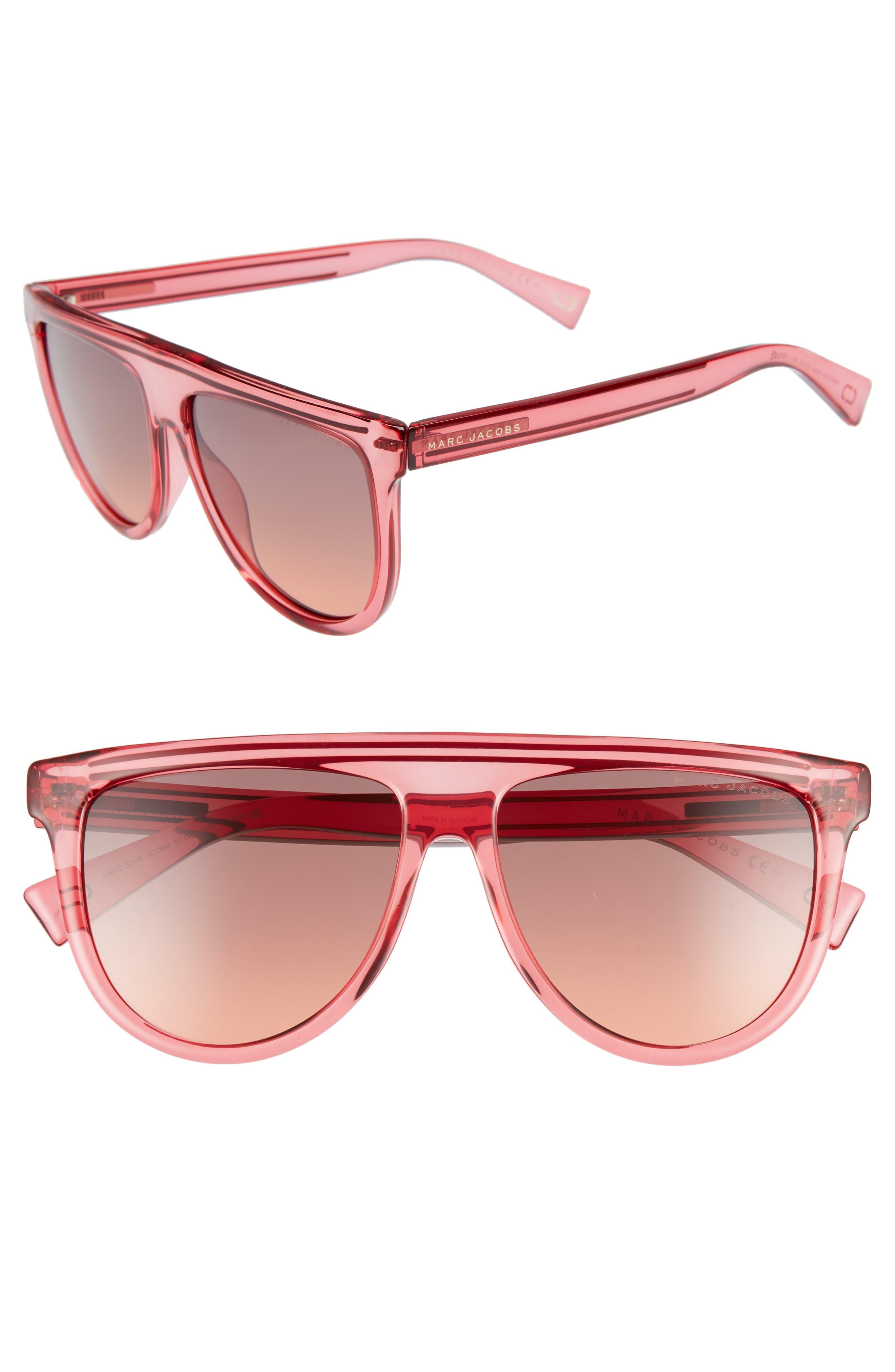 57Mm Gradient Flat Top Sunglasses - Cherry