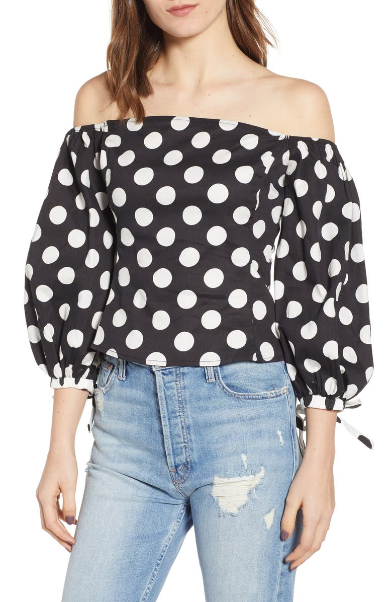 Endless Rose POLKA DOT OFF THE SHOULDER COTTON TOP