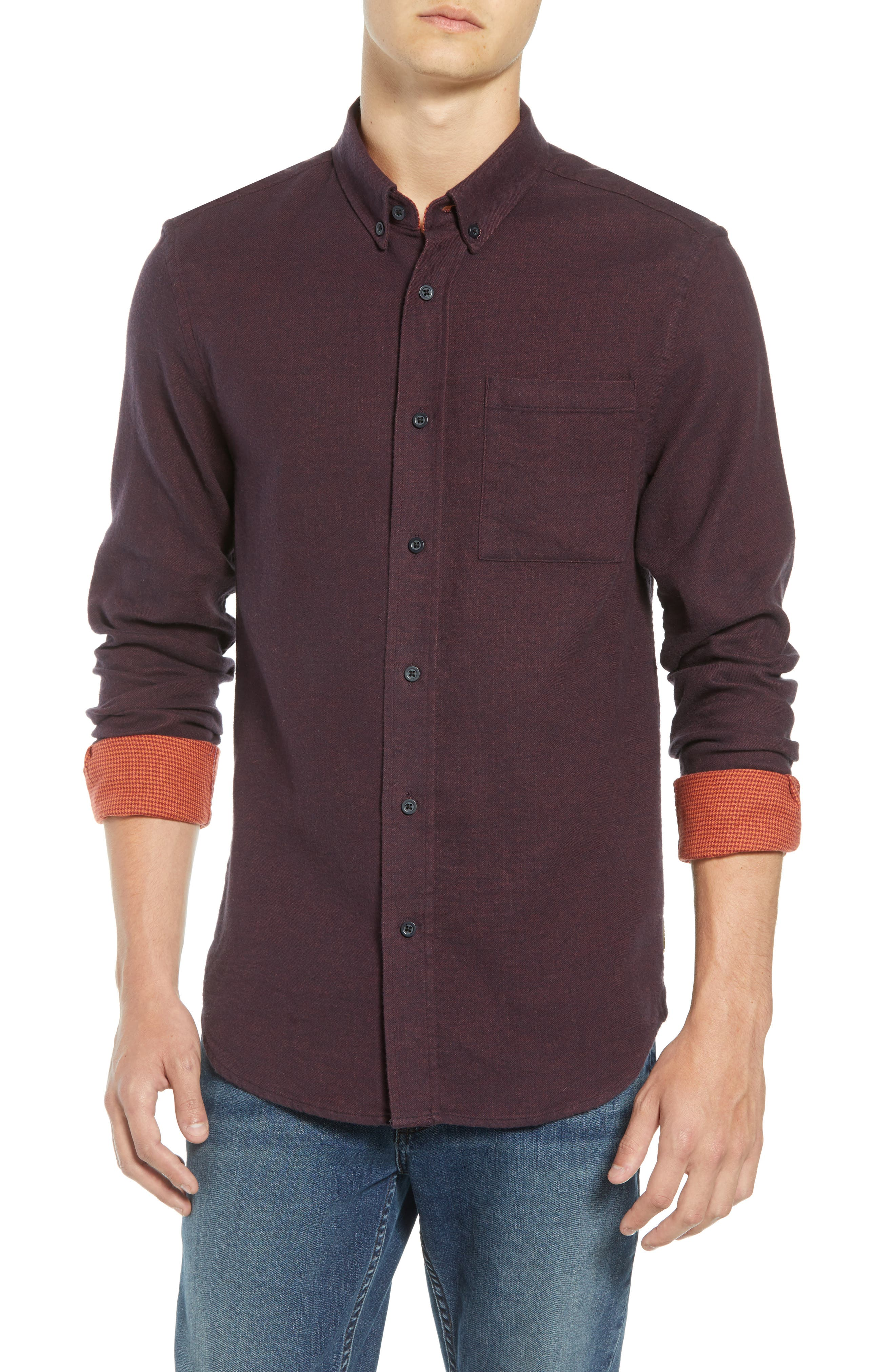 Regular Fit Button Down Sport Shirt,                         Main,                         color, DEEP PURPLE MELANGE