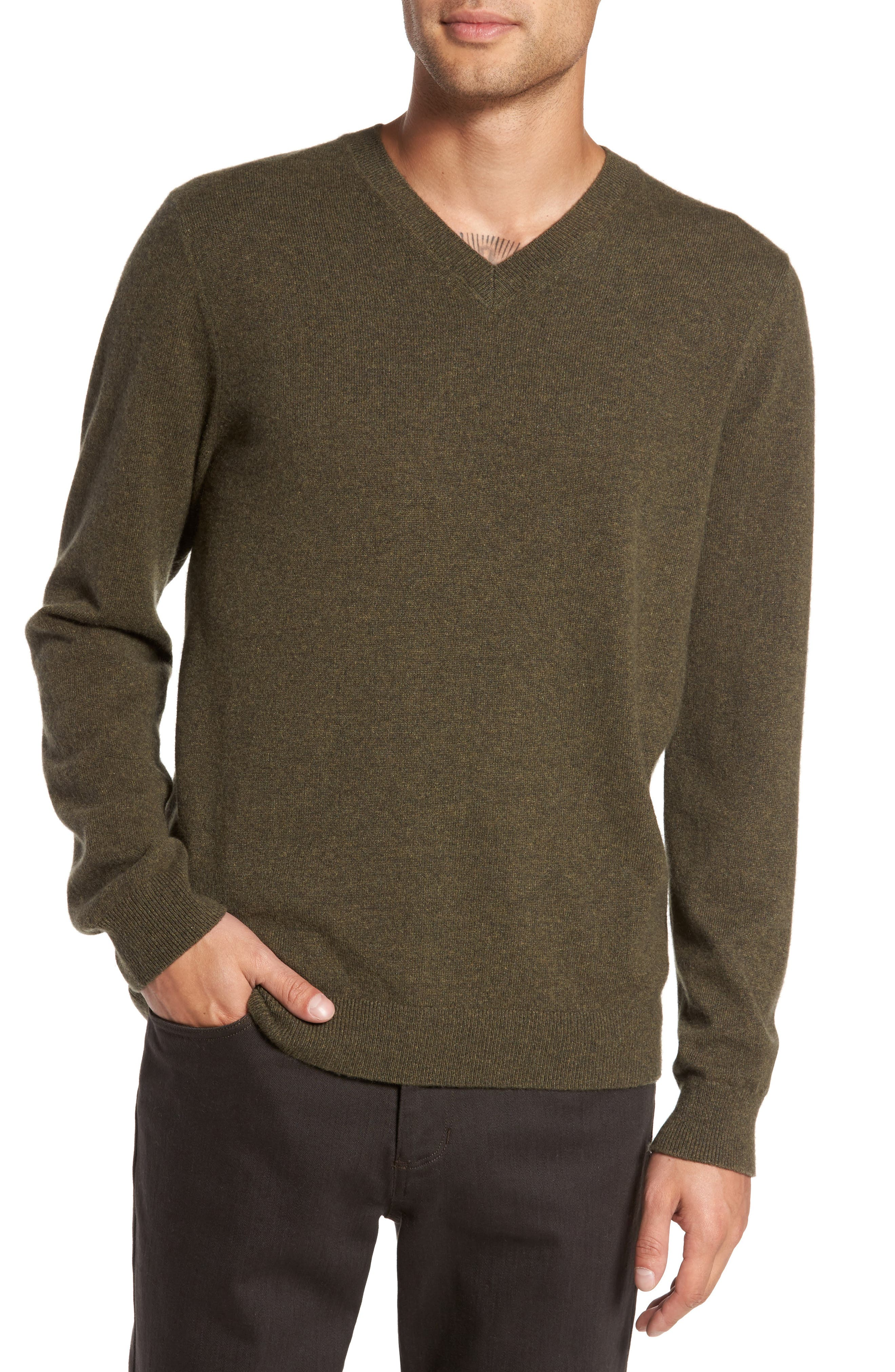 V-Neck Cashmere Sweater,                             Main thumbnail 1, color,                             376