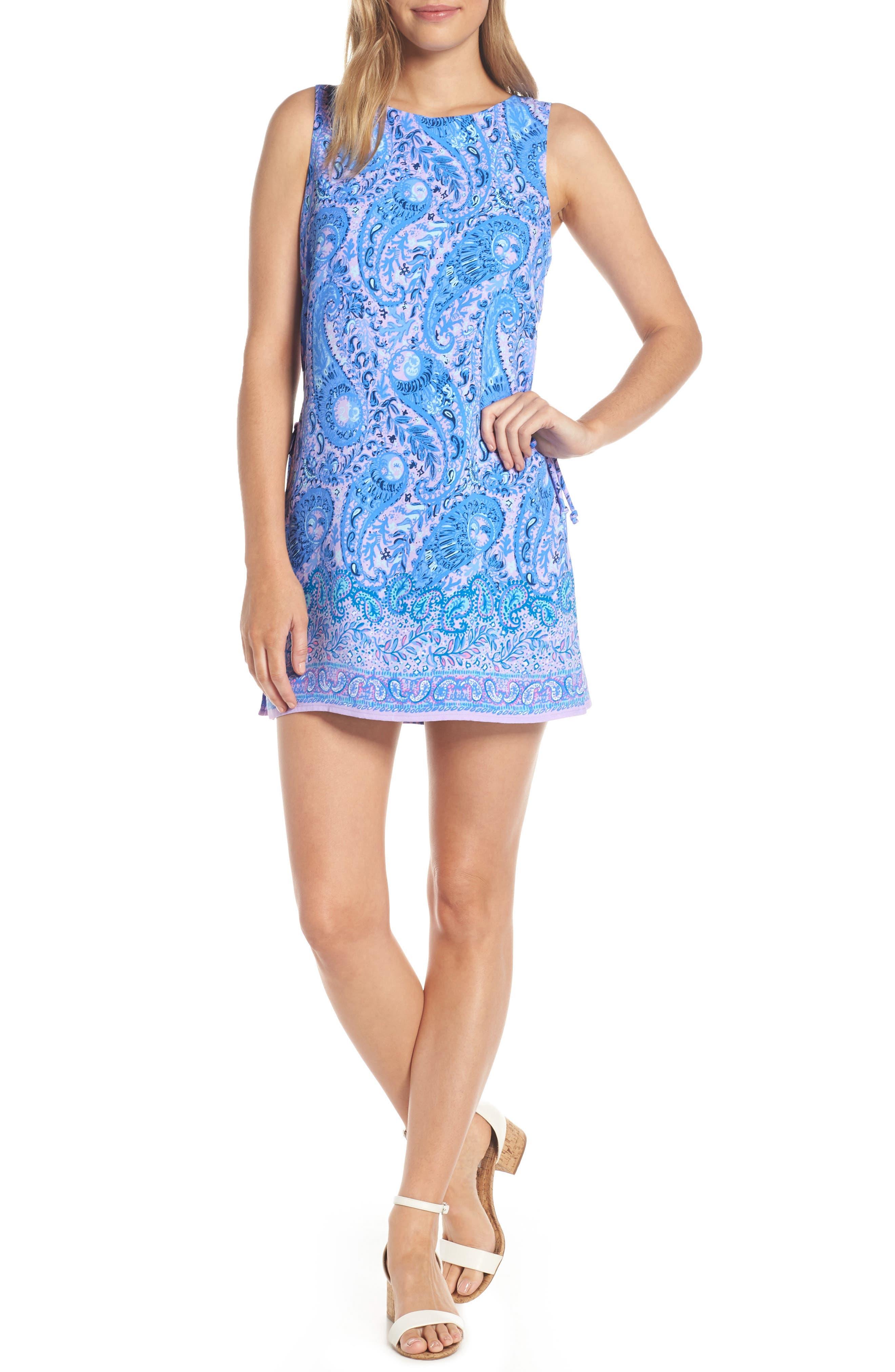 Donna Romper Dress, Main, color, PURPLE IRIS HELLO SUNSHINE