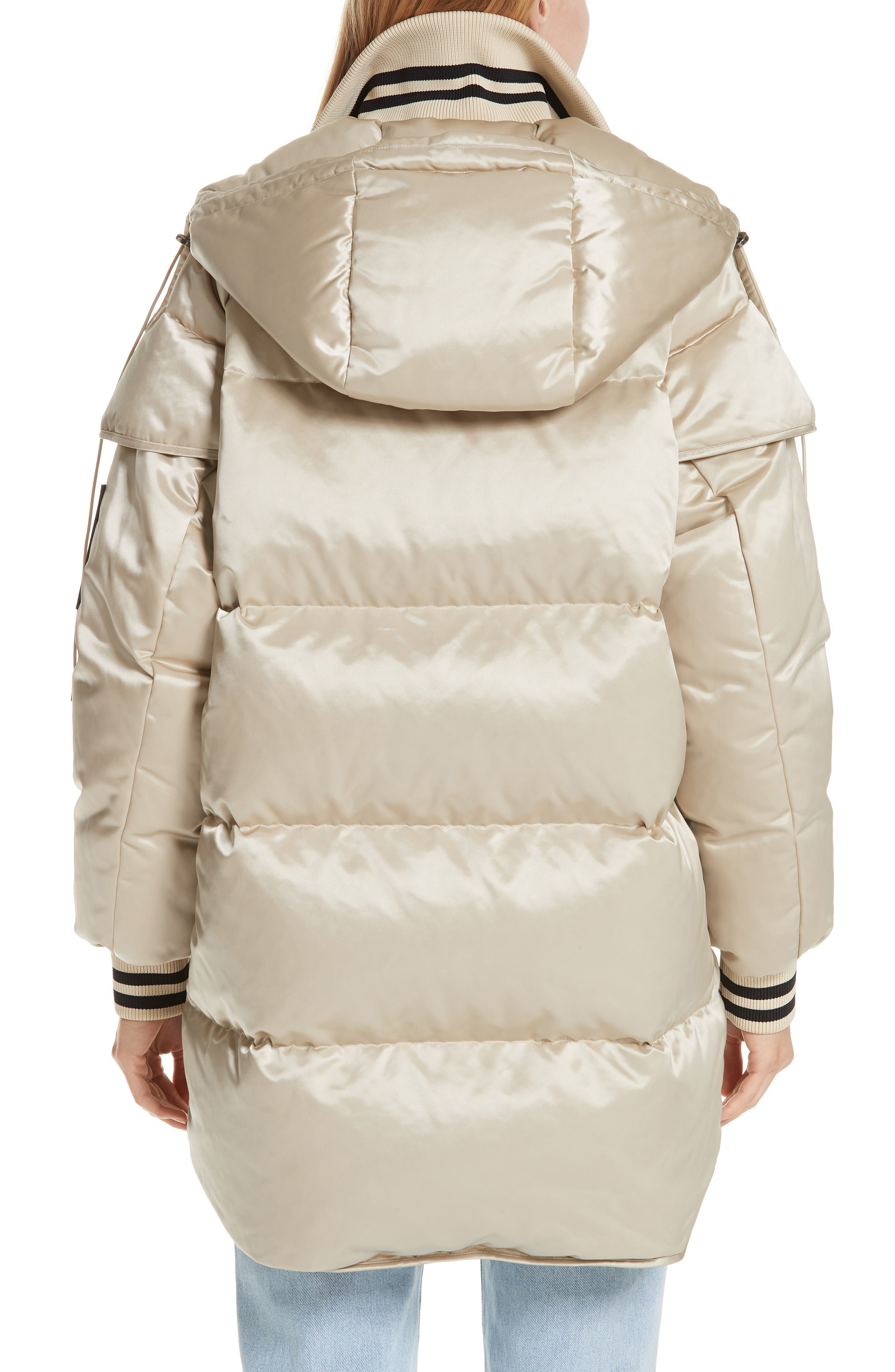 Patch Down Fill Puffer Jacket,                             Alternate thumbnail 2, color,                             BEIGE BLACK