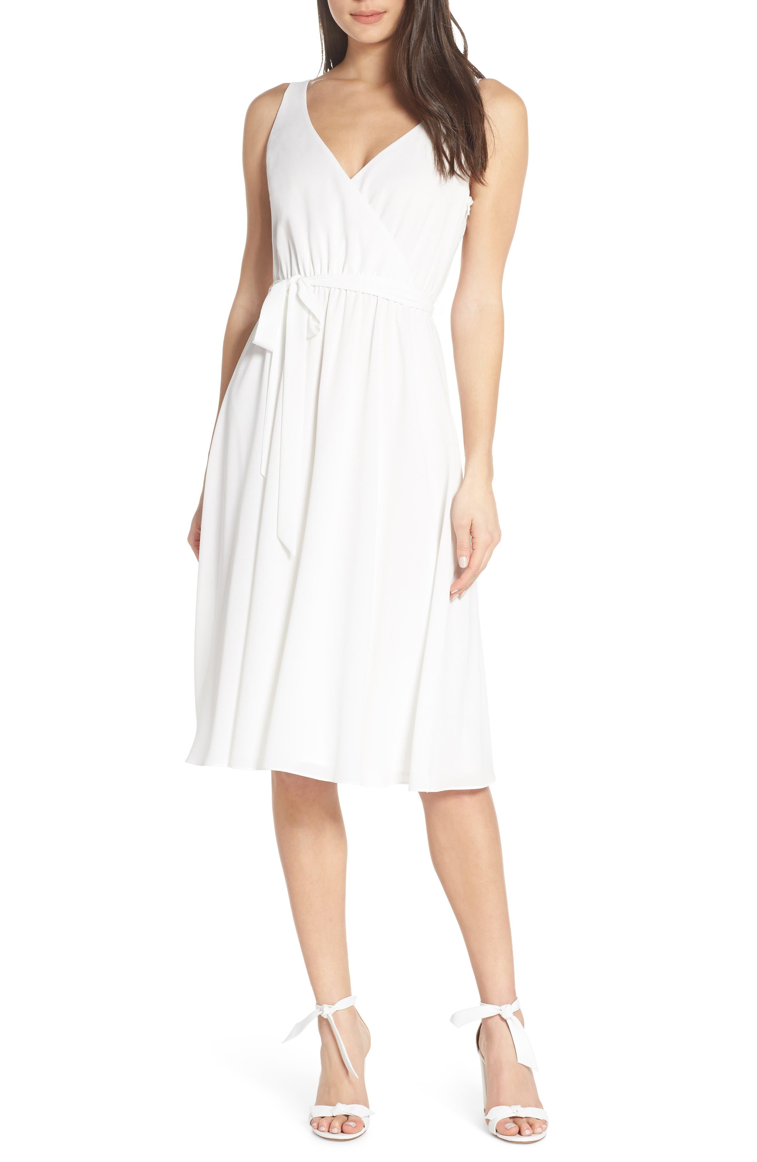 Ali & Jay Bh Strolling Faux Wrap Midi Dress, White