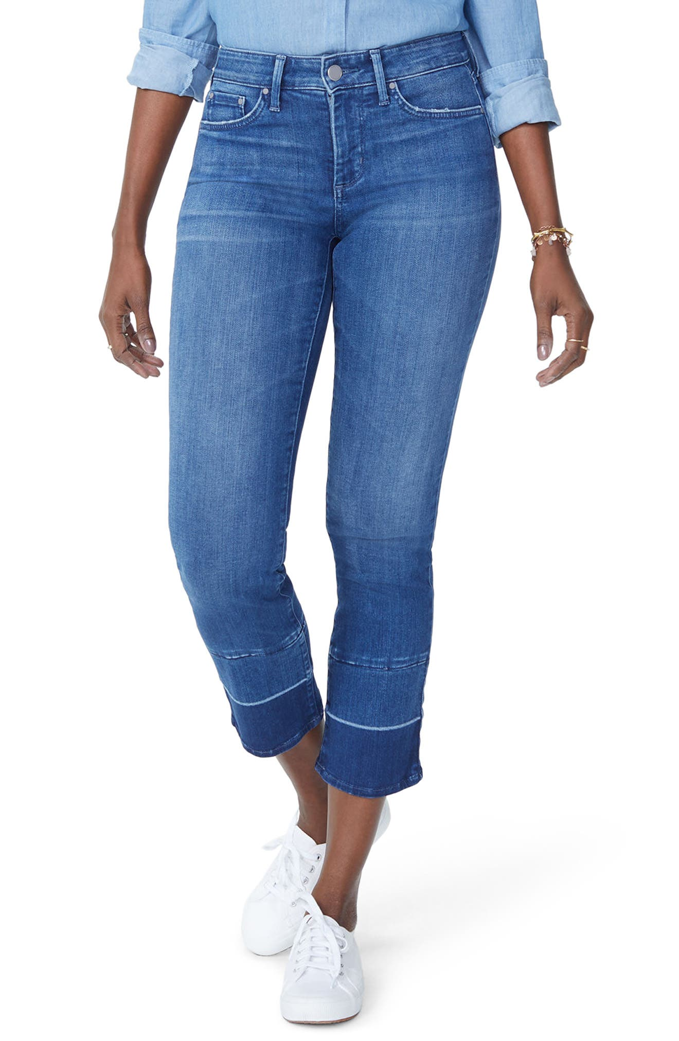 Sheri Wide Release Hem Ankle Jeans,                             Main thumbnail 1, color,                             406