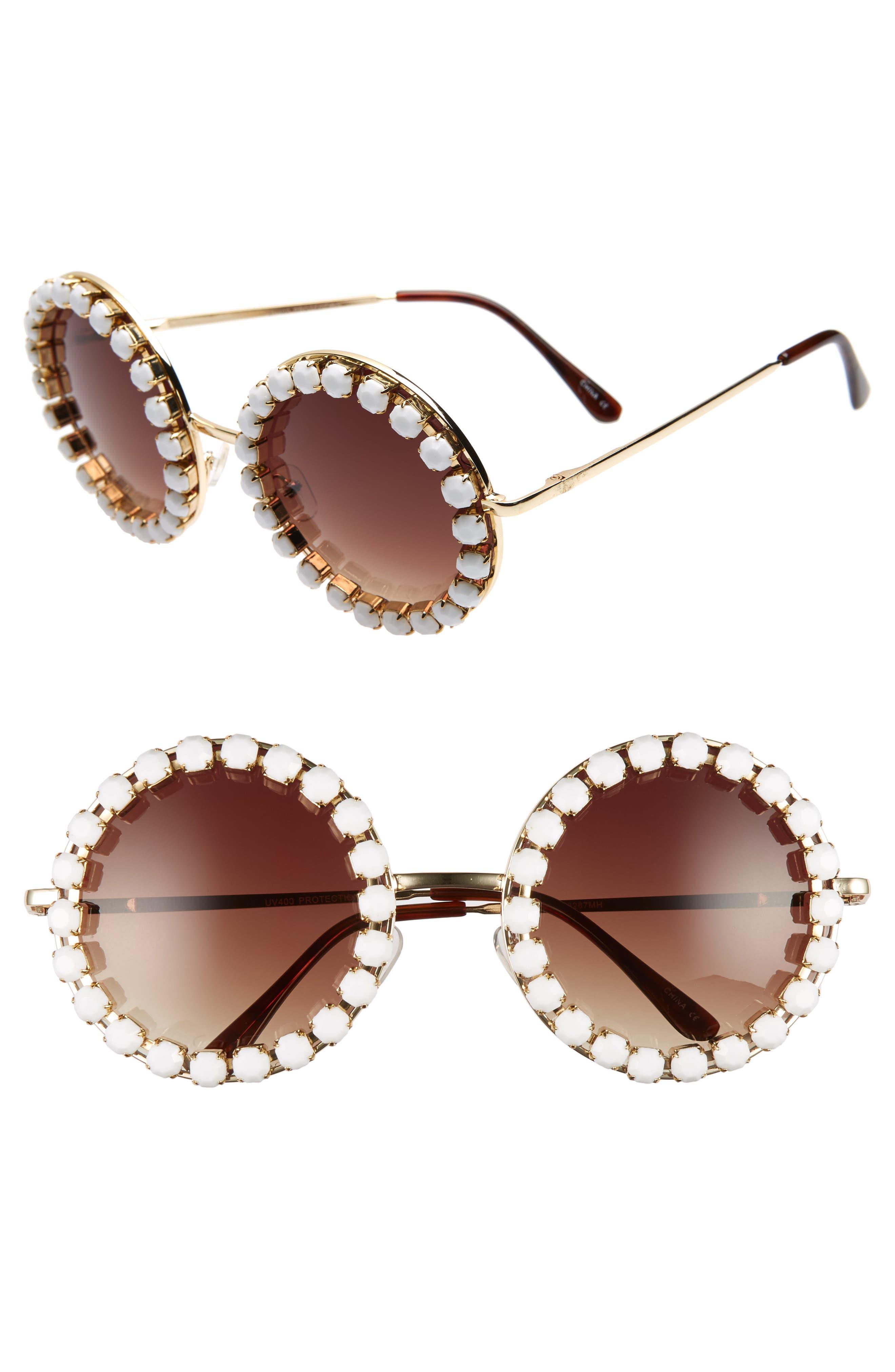 Rad + Refined Rhinestone Round Sunglasses - Gold/ White