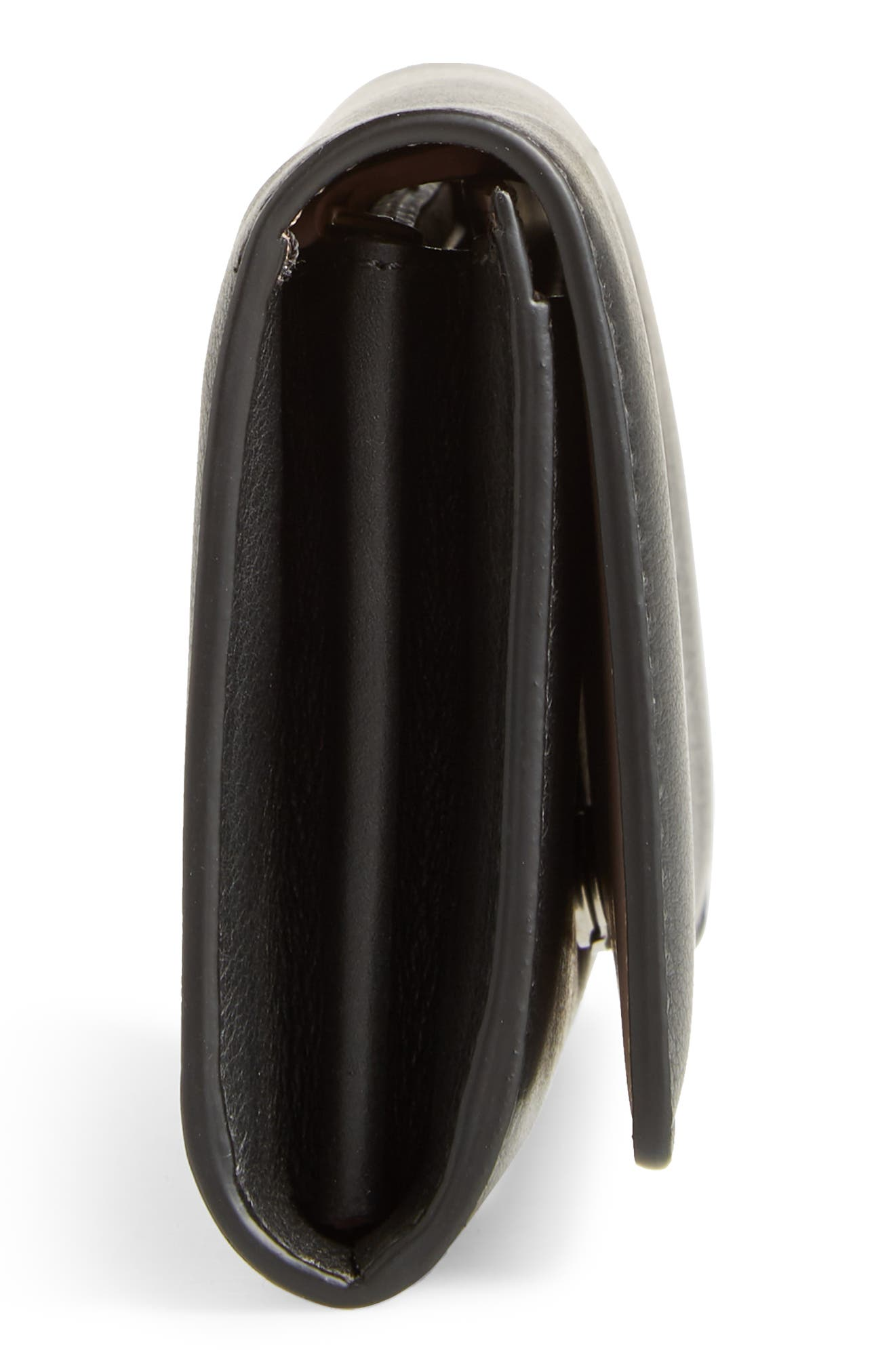 Crest Embossed Leather Clutch,                             Alternate thumbnail 5, color,                             BLACK