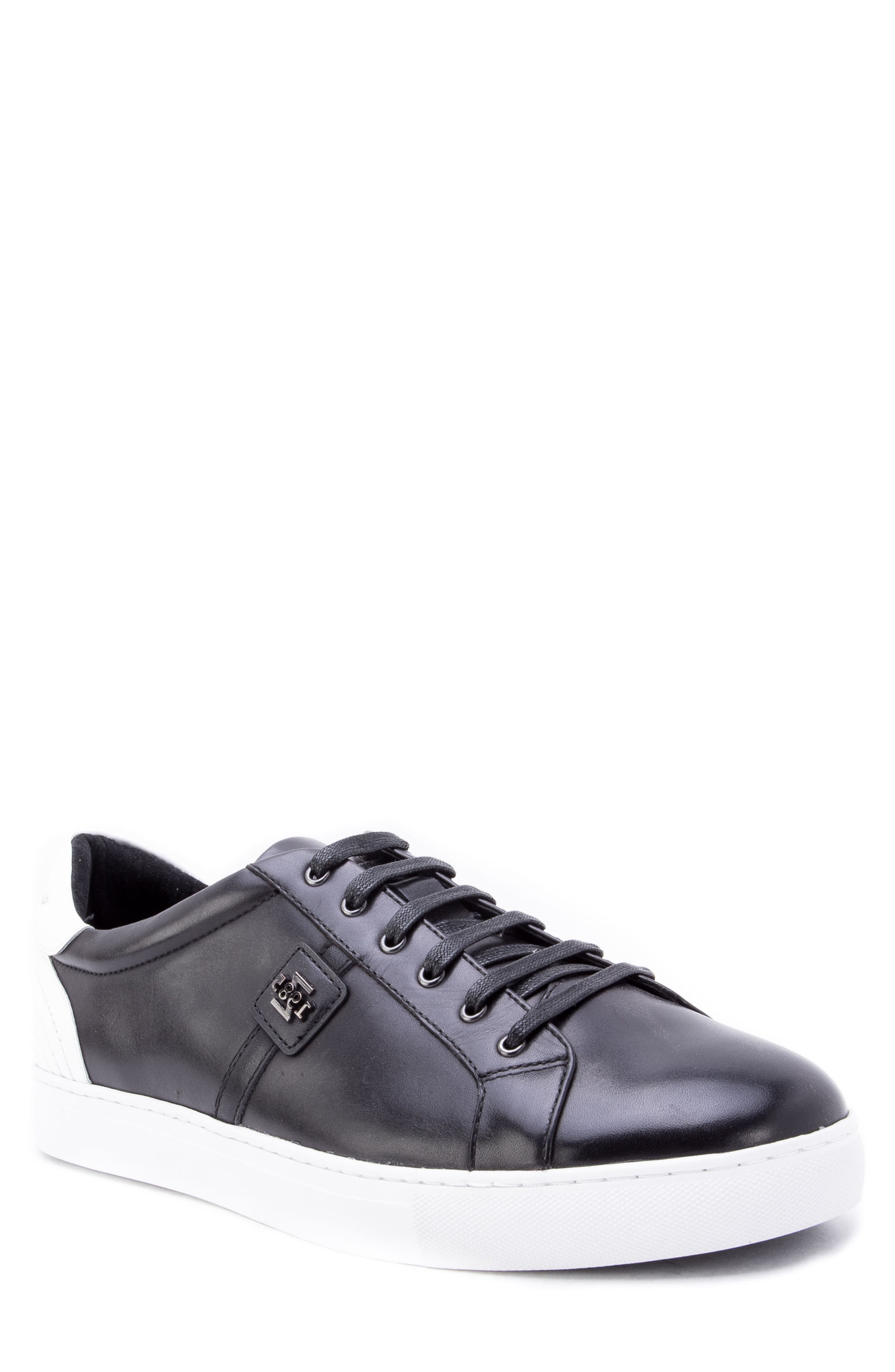 Scheffer Low Top Sneaker,                             Main thumbnail 1, color,                             BLACK LEATHER