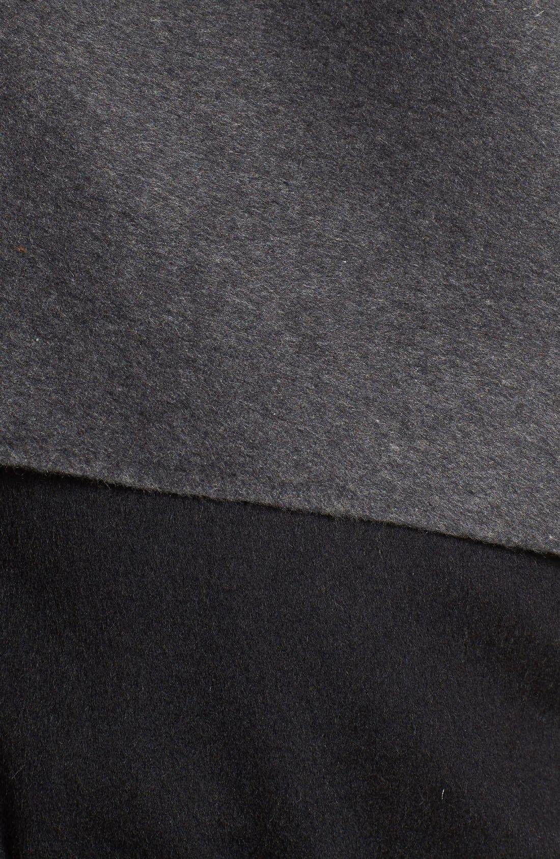 Leather Sleeve Wool Blend Wrap Coat,                             Alternate thumbnail 5, color,                             001