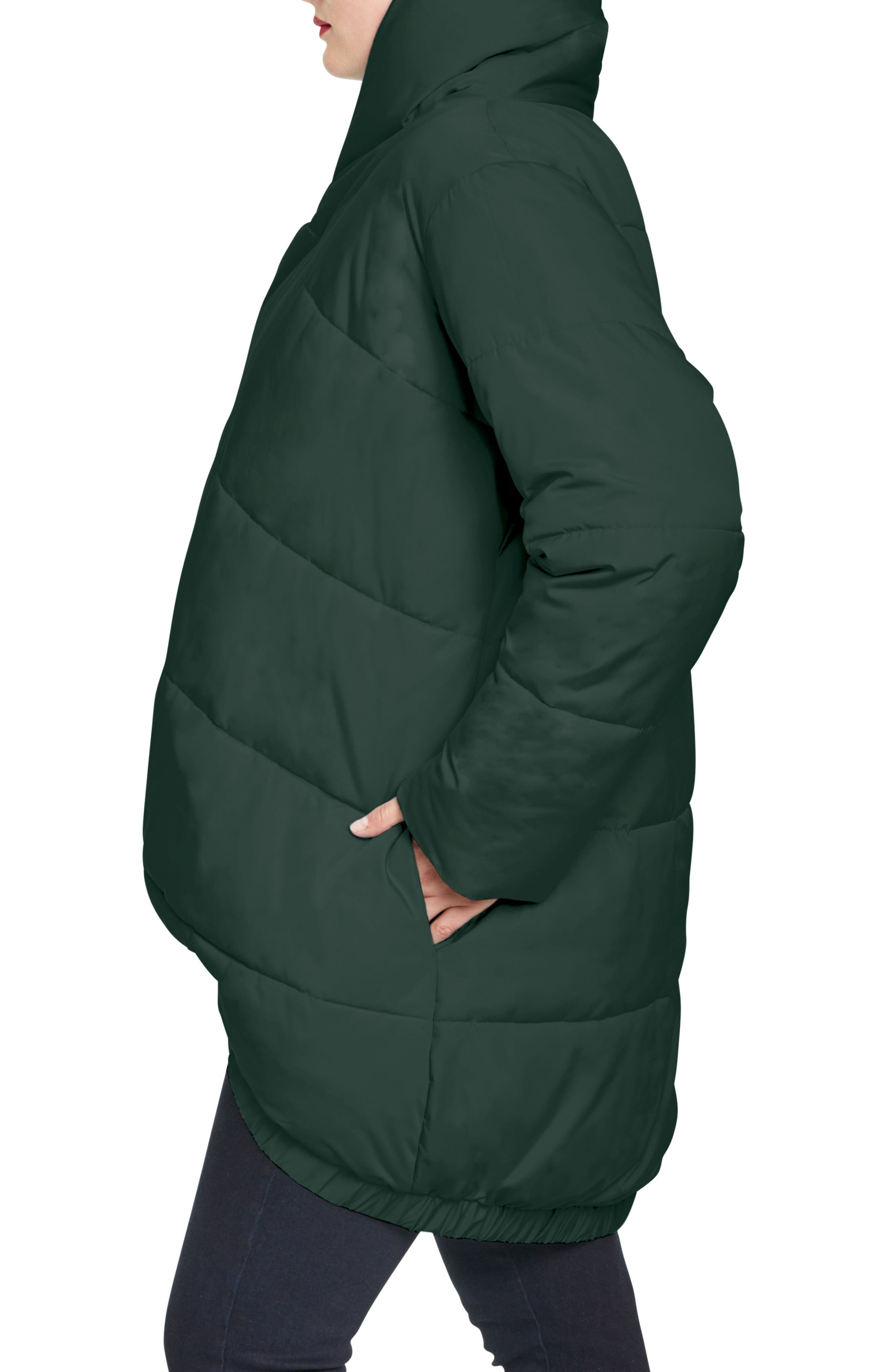 UNIVERSAL STANDARD,                             Kanda Puffer Coat,                             Alternate thumbnail 4, color,                             HUNTER GREEN