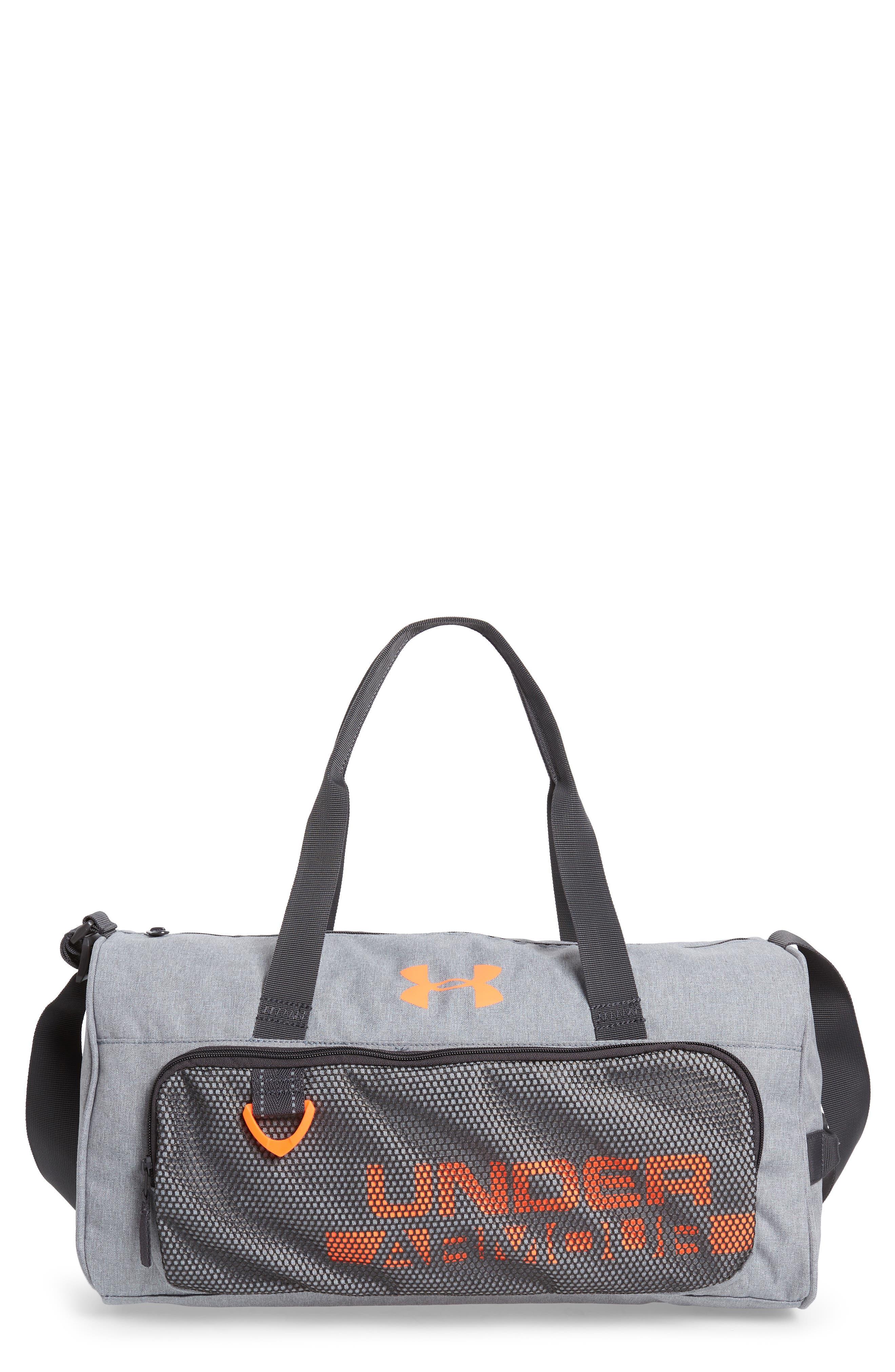 Select Water Resistant Duffel Bag, Main, color, STEEL HEATHER /CHARCOAL/ORANGE