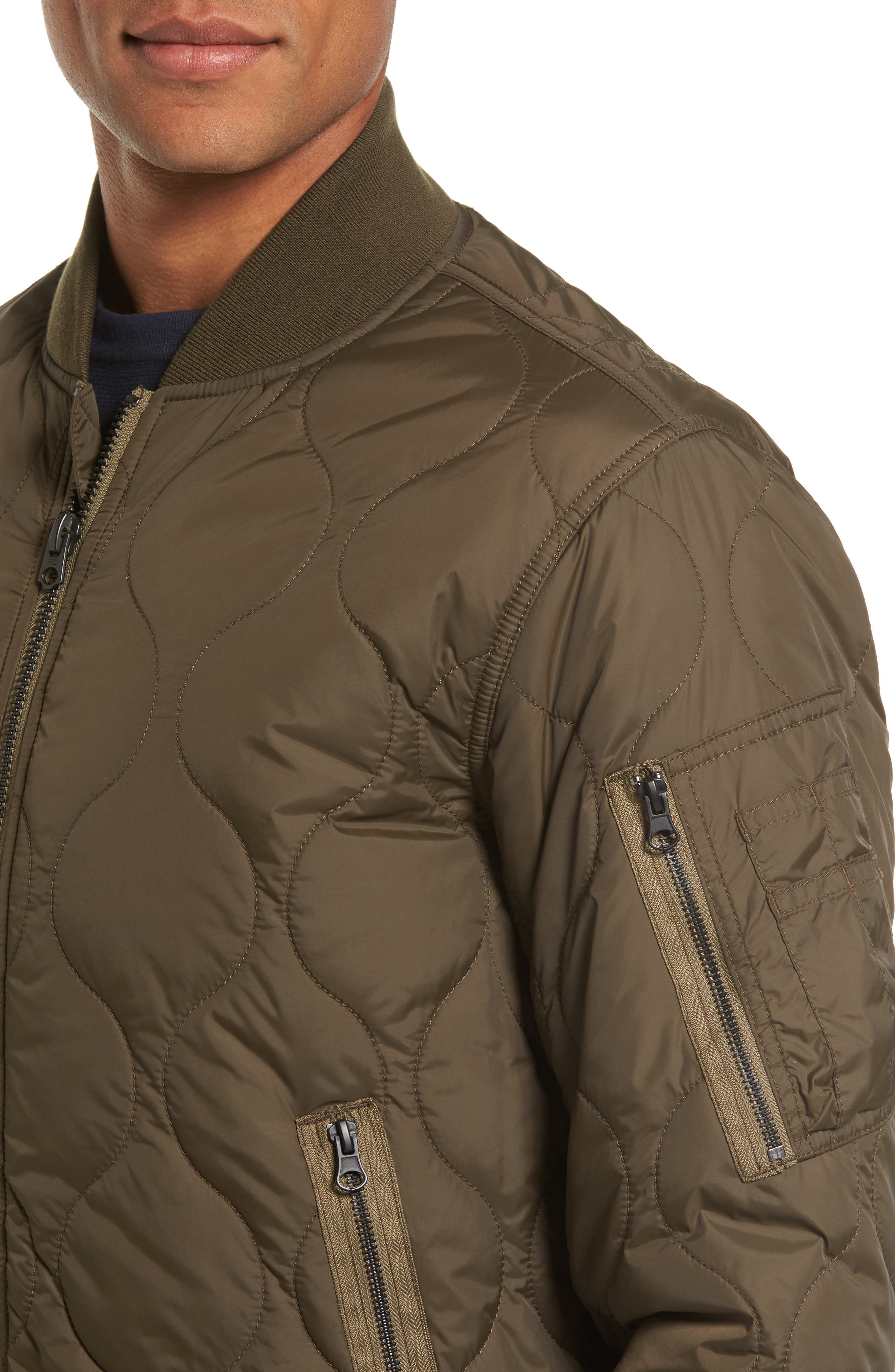 Regular Fit Quilted Bomber Jacket,                             Alternate thumbnail 4, color,