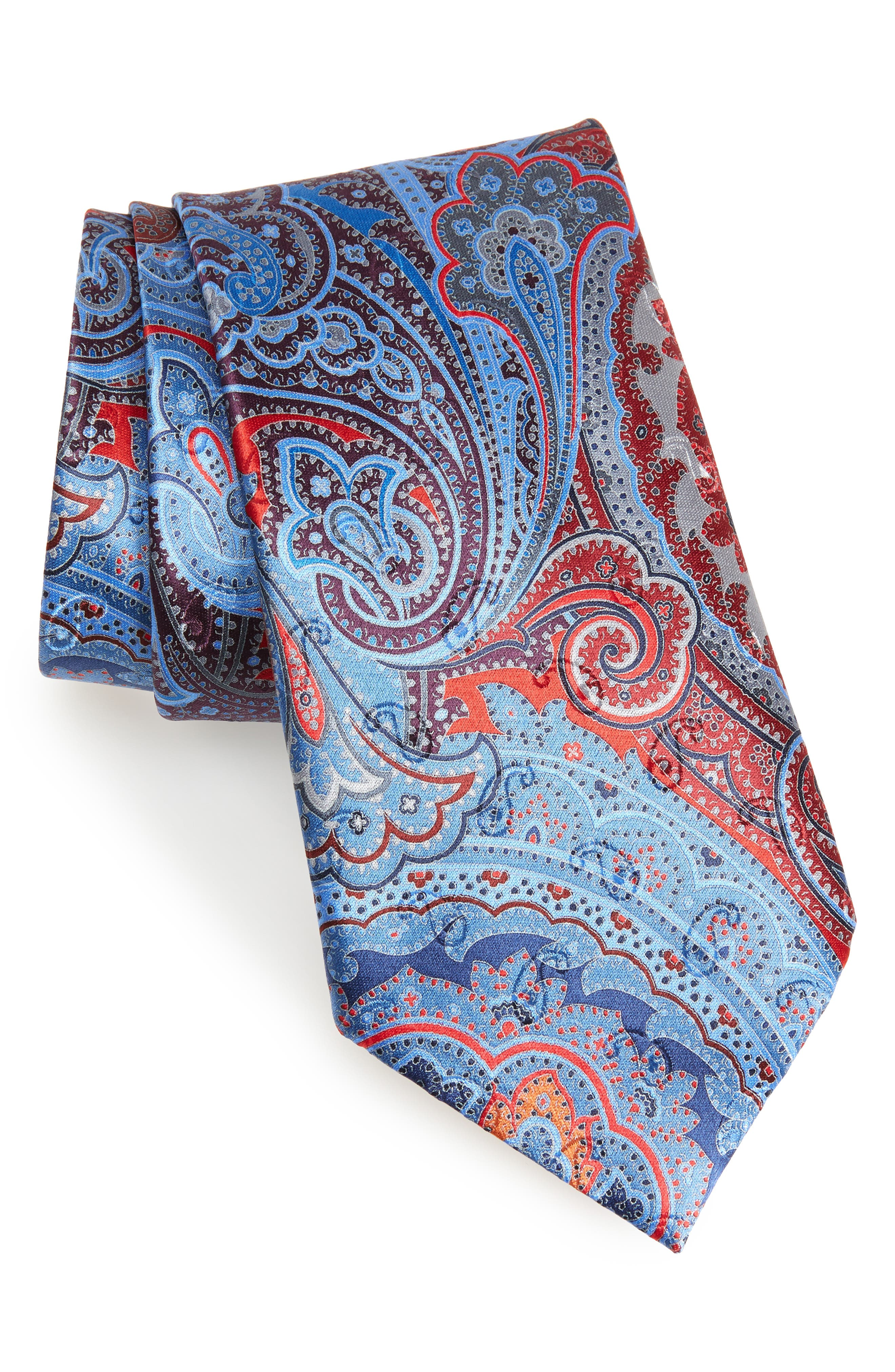 Quindici Paisley Silk Tie,                         Main,                         color, RED