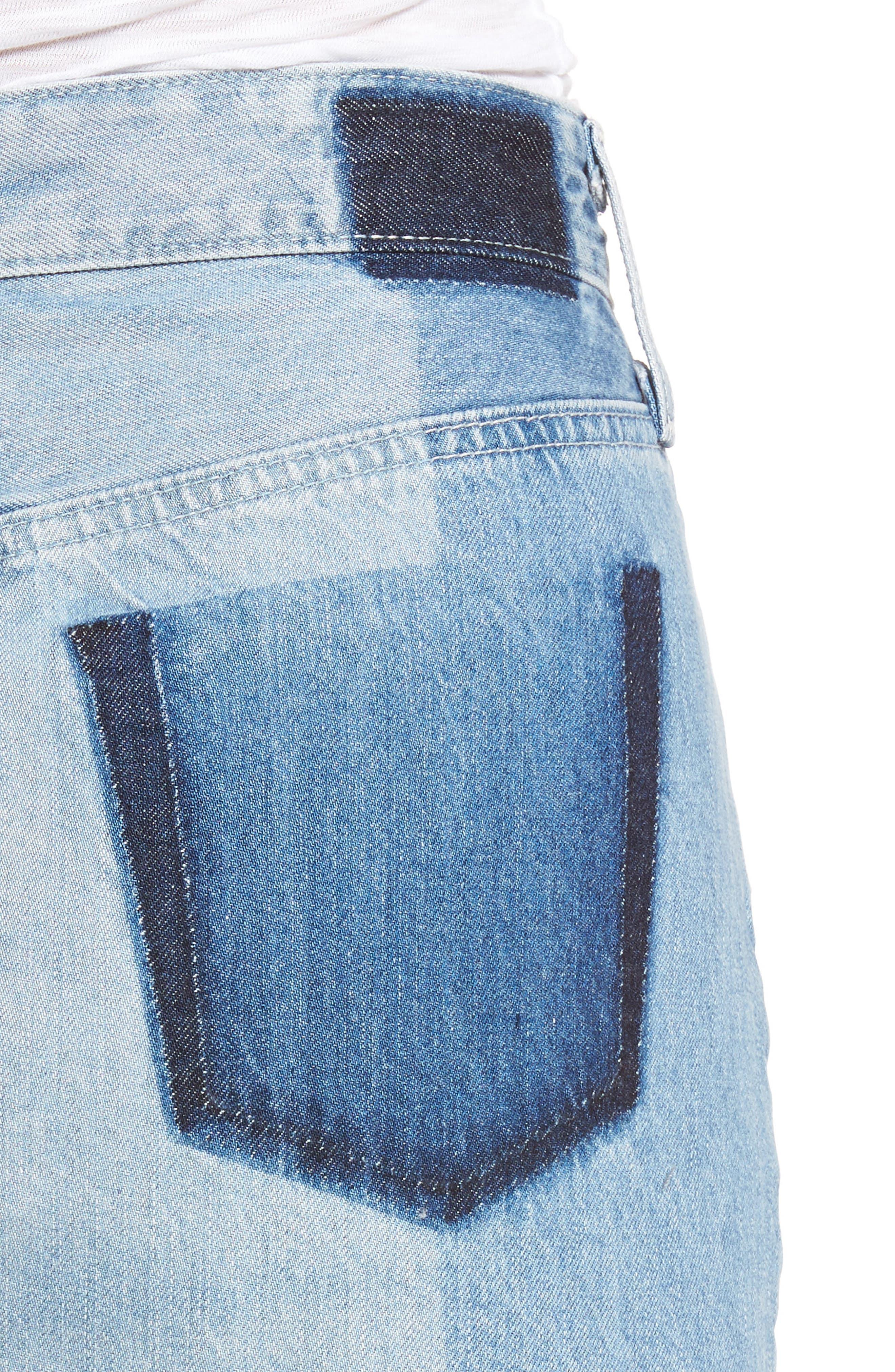 Sandy Raw Edge Denim Miniskirt,                             Alternate thumbnail 4, color,                             466