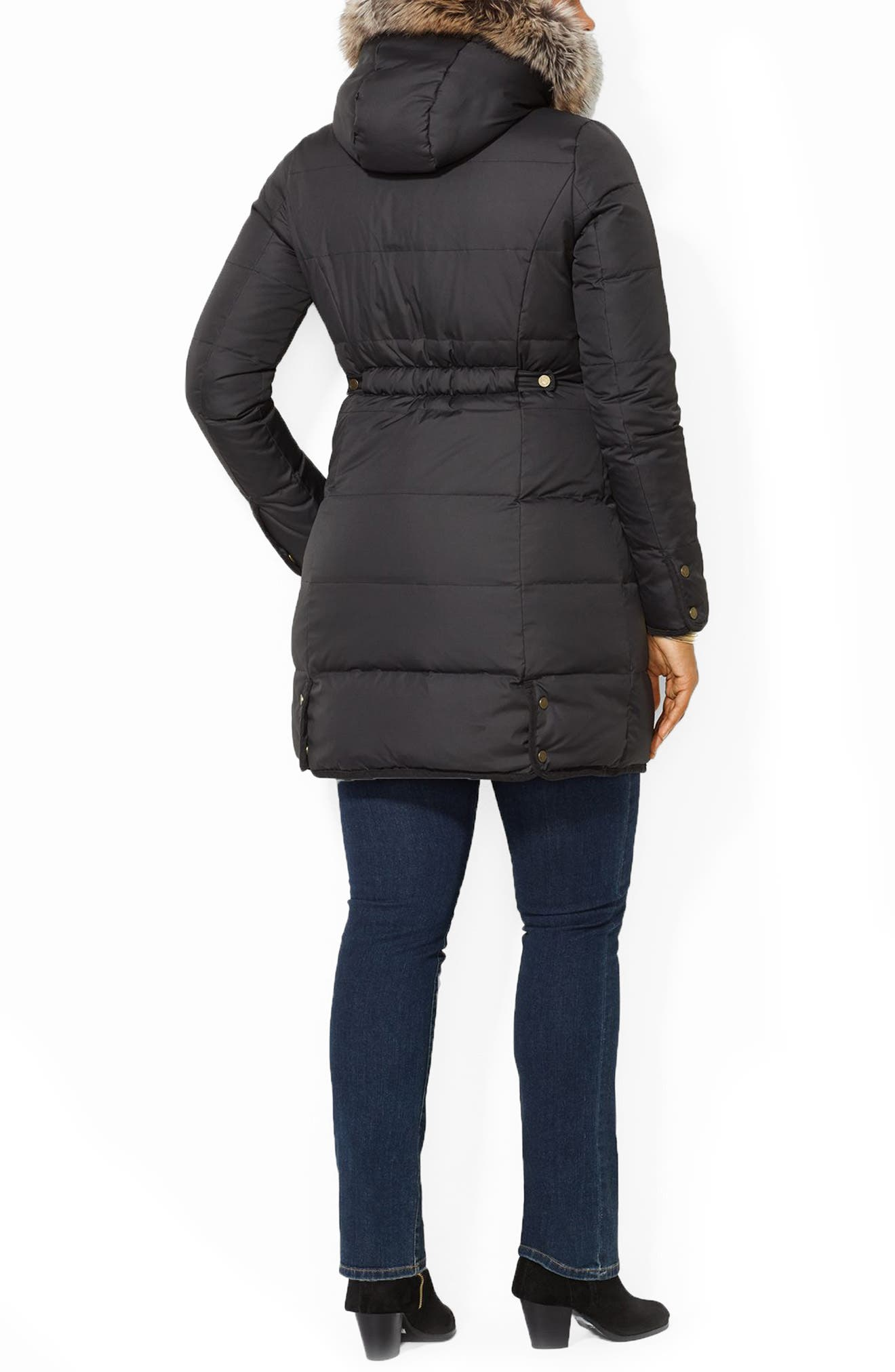 Quilted Parka with Faux Fur Trim,                             Alternate thumbnail 2, color,                             001