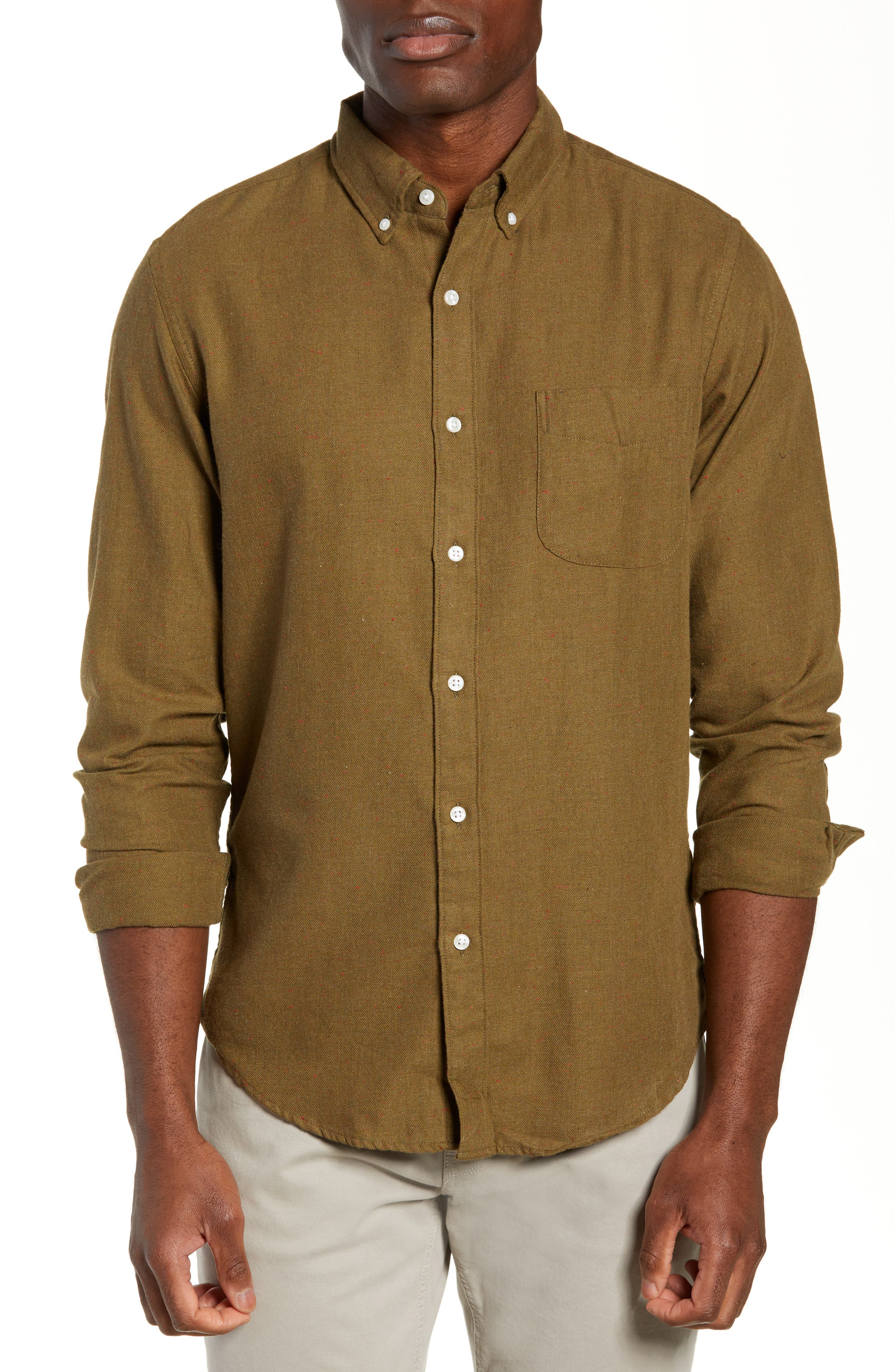Slim Fit Neppy Twill Sport Shirt,                         Main,                         color, SAFARI FATIGUE HEATHER